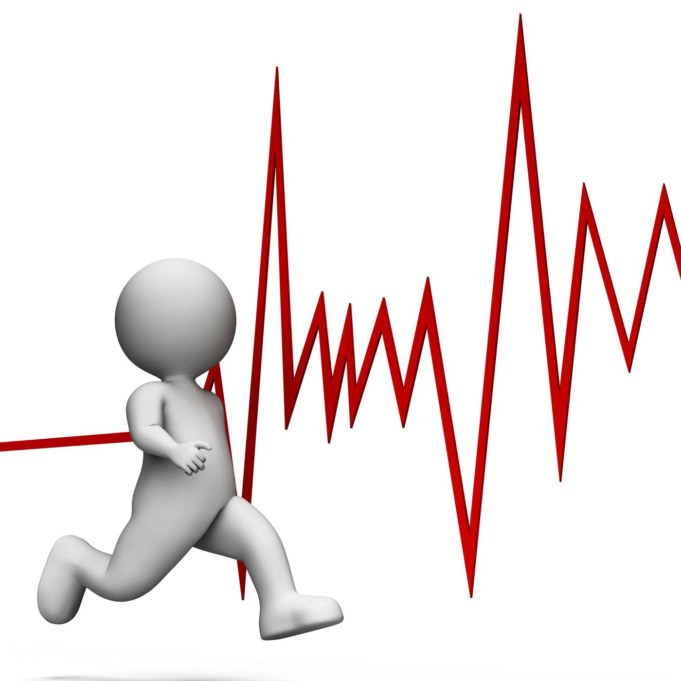 Health Heartbeat Represents Wellness Sprint And Render 3d Rendering, Pulse, Jogging, Man, Medicine, HQ Photo
