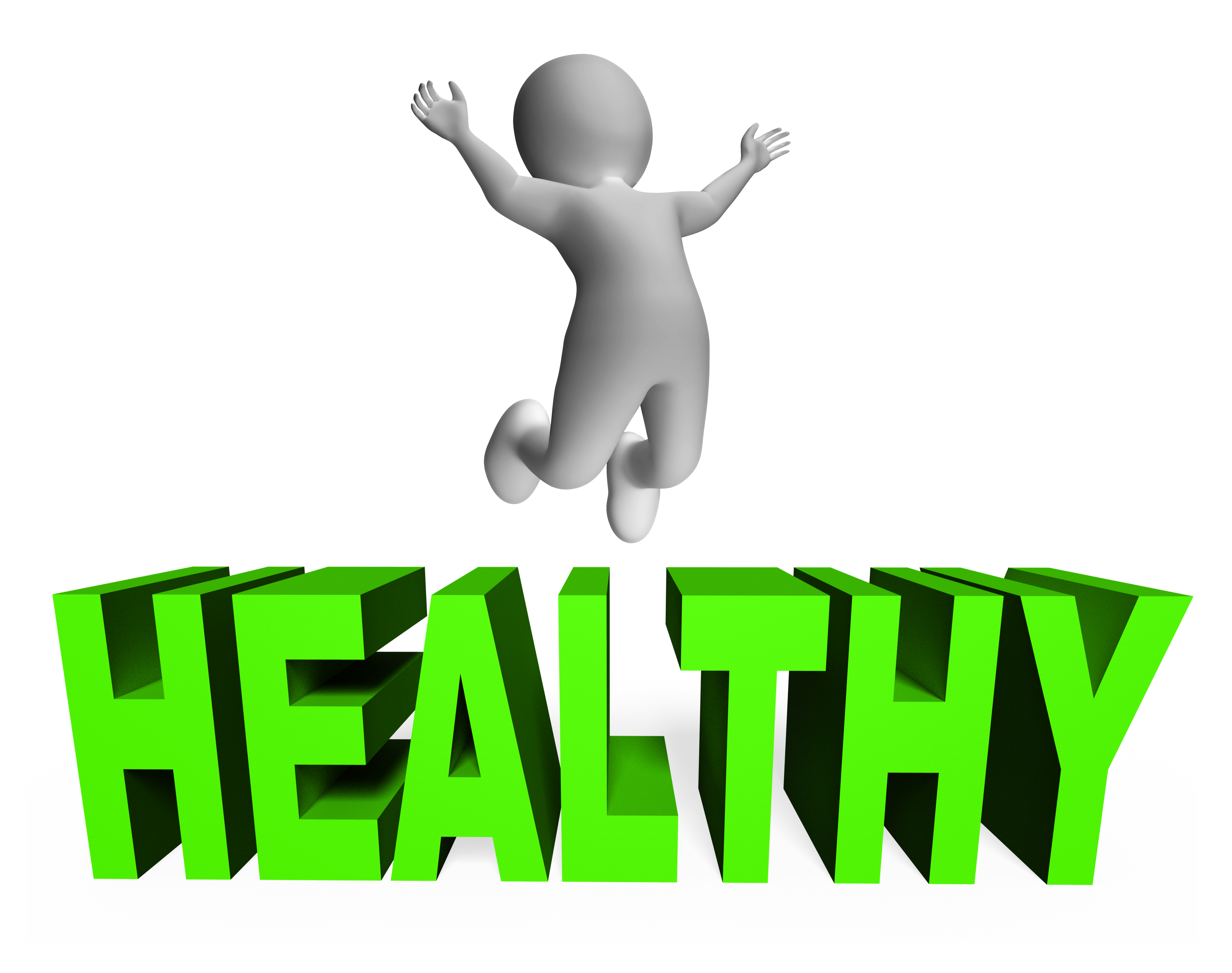Healthy character indicates wellness jumps photo