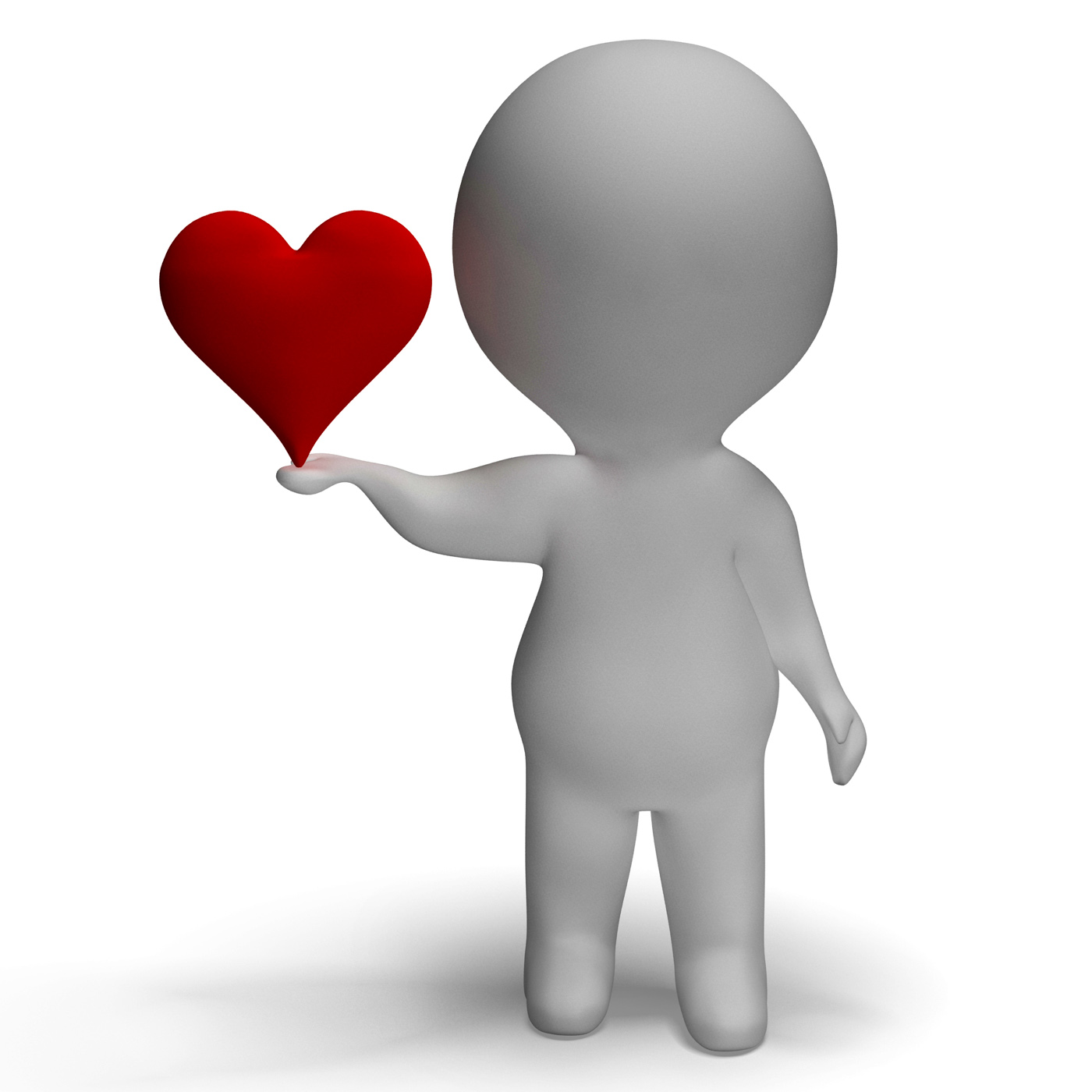Heart And 3d Character Showing Love For Girlfriend, 3d, Boyfriend, Character, Girlfriend, HQ Photo