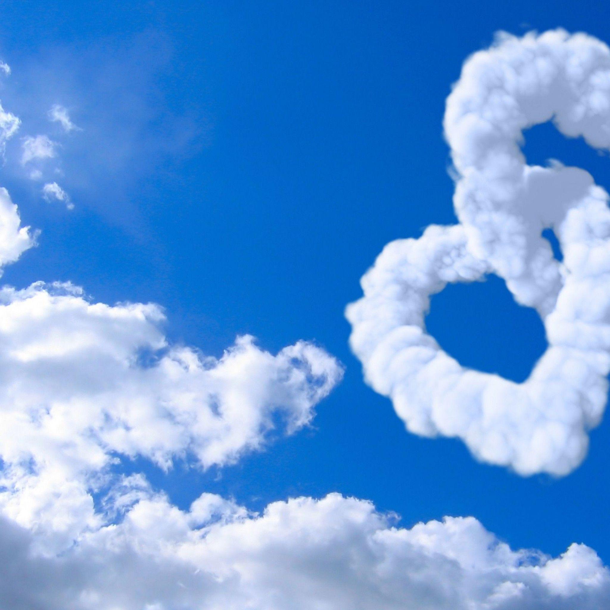 Love Heart Clouds In Blue Sky Heart February S #13790 Wallpaper ...