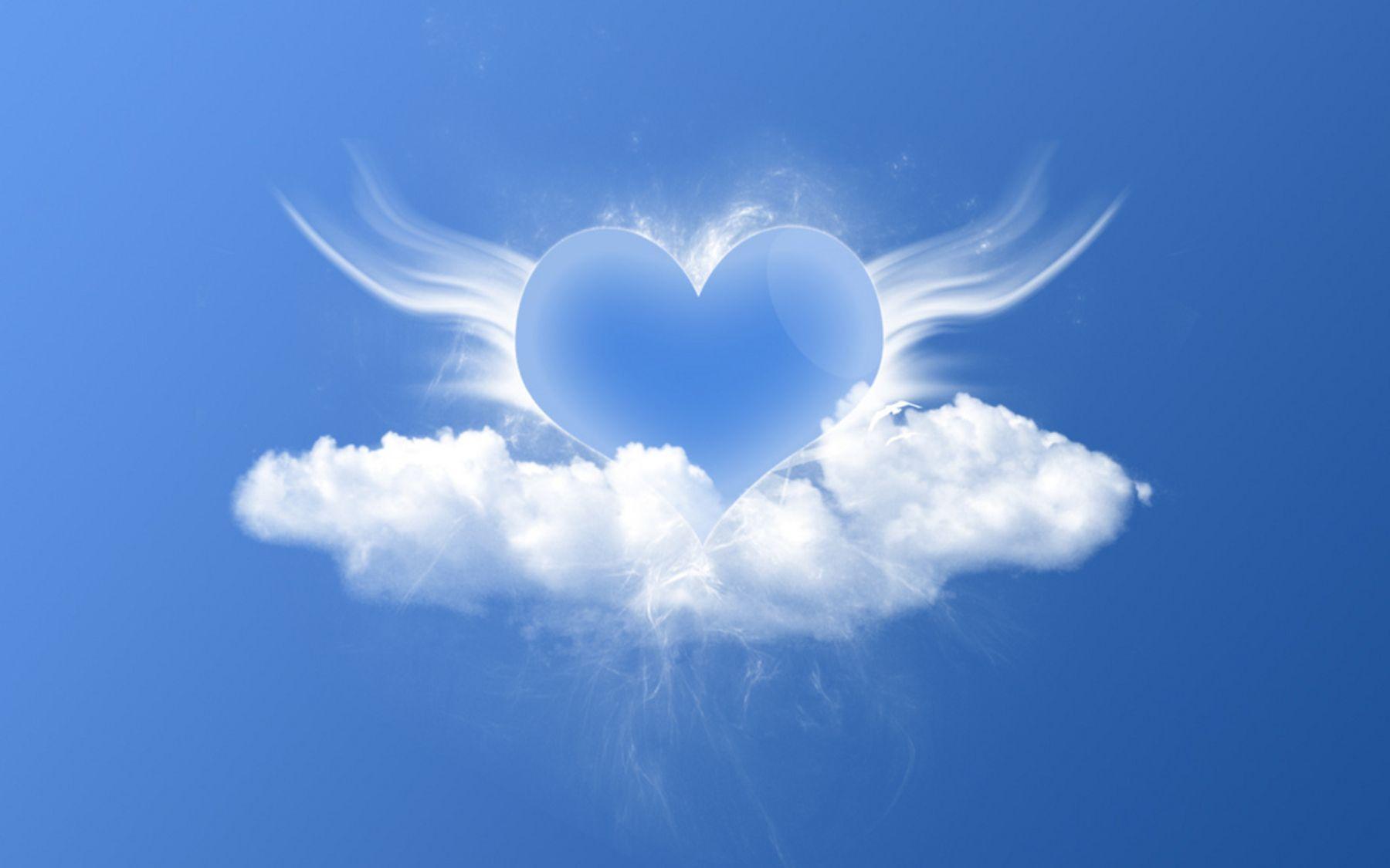 heart shaped cloud tattoo | Love heart angel on cloud wallpaper ...