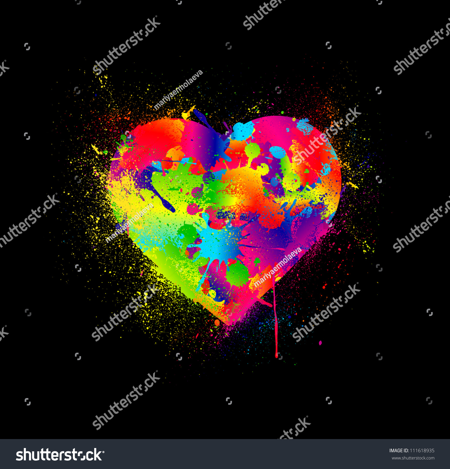 Paint Splatter Heart Vector Illustration Stock Vector 111618935 ...