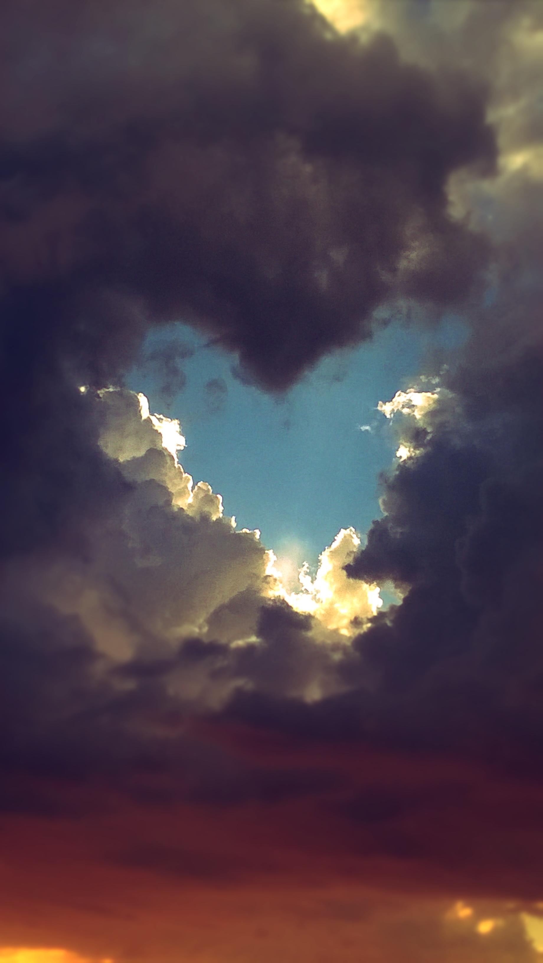 free photo: heart shaped break in the clouds - shape, romantic