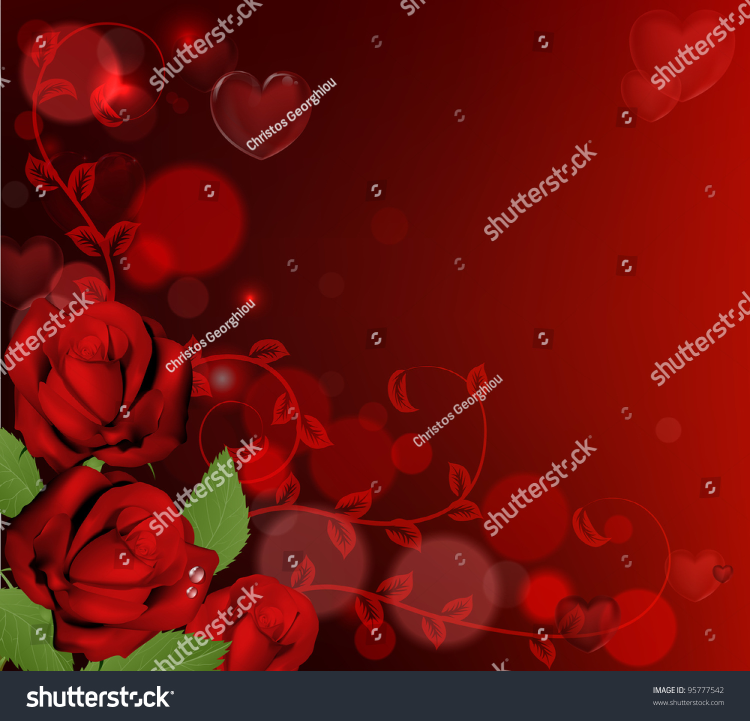 Red Valentines Day Background Heart Shaped Stock Vector 95777542 ...