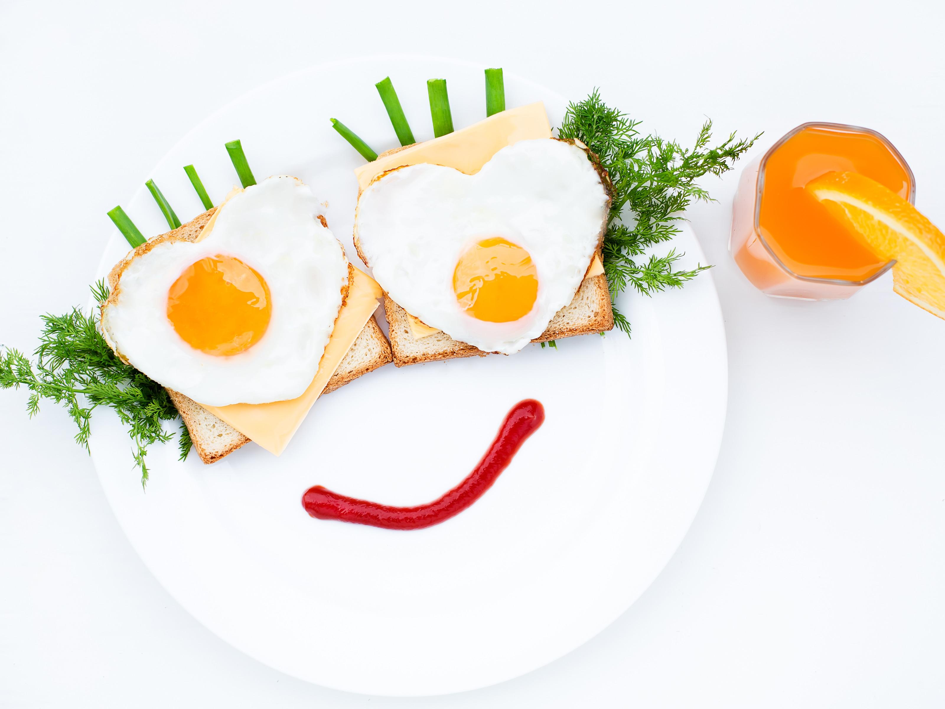 Happy Breakfast, Heart Shaped Eggs on Toast and Cheese, Fresh Orange ...