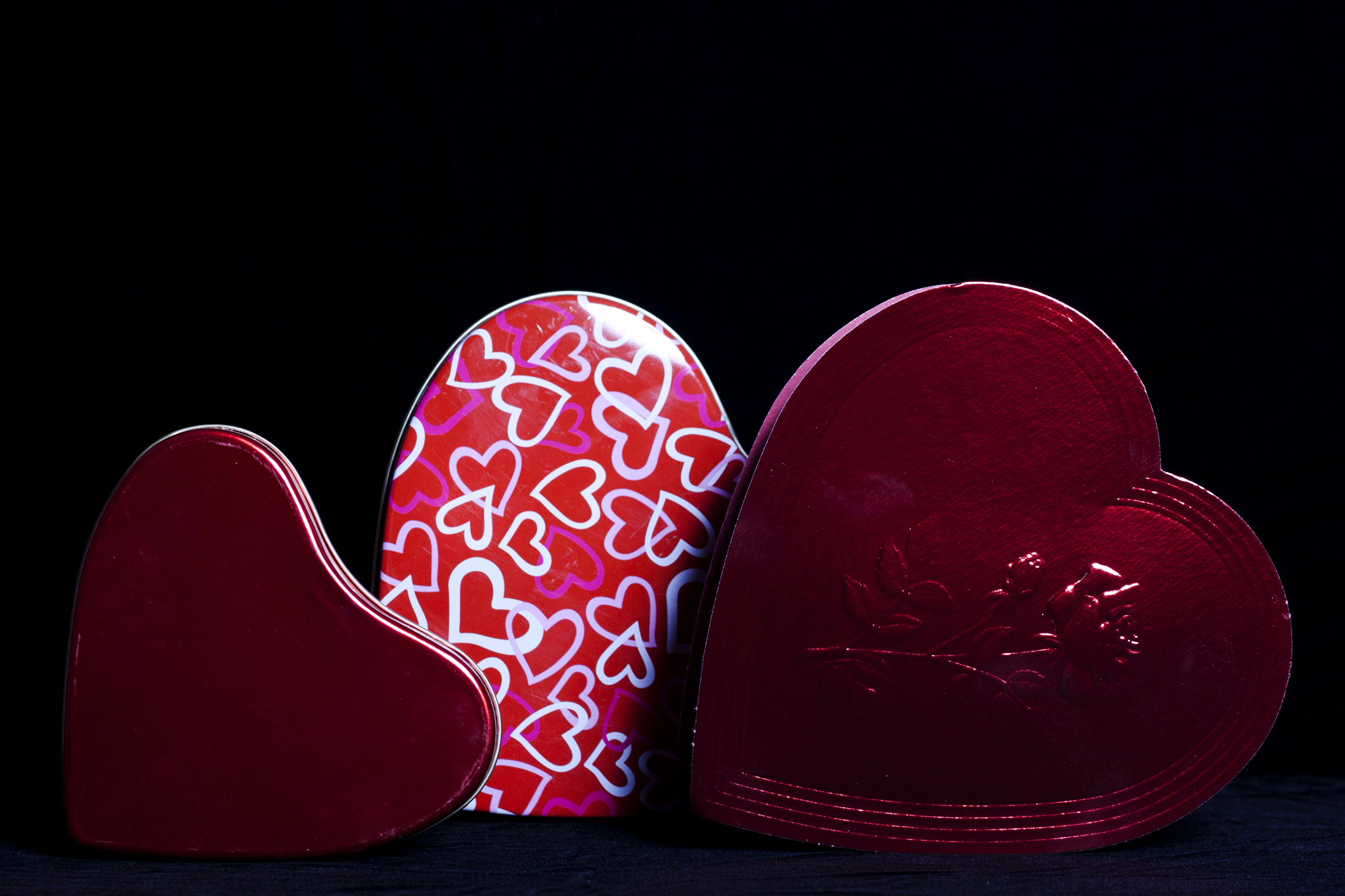 Heart Shaped Gift Boxes on Black, Affection, Ribbon, Objects, Package, HQ Photo