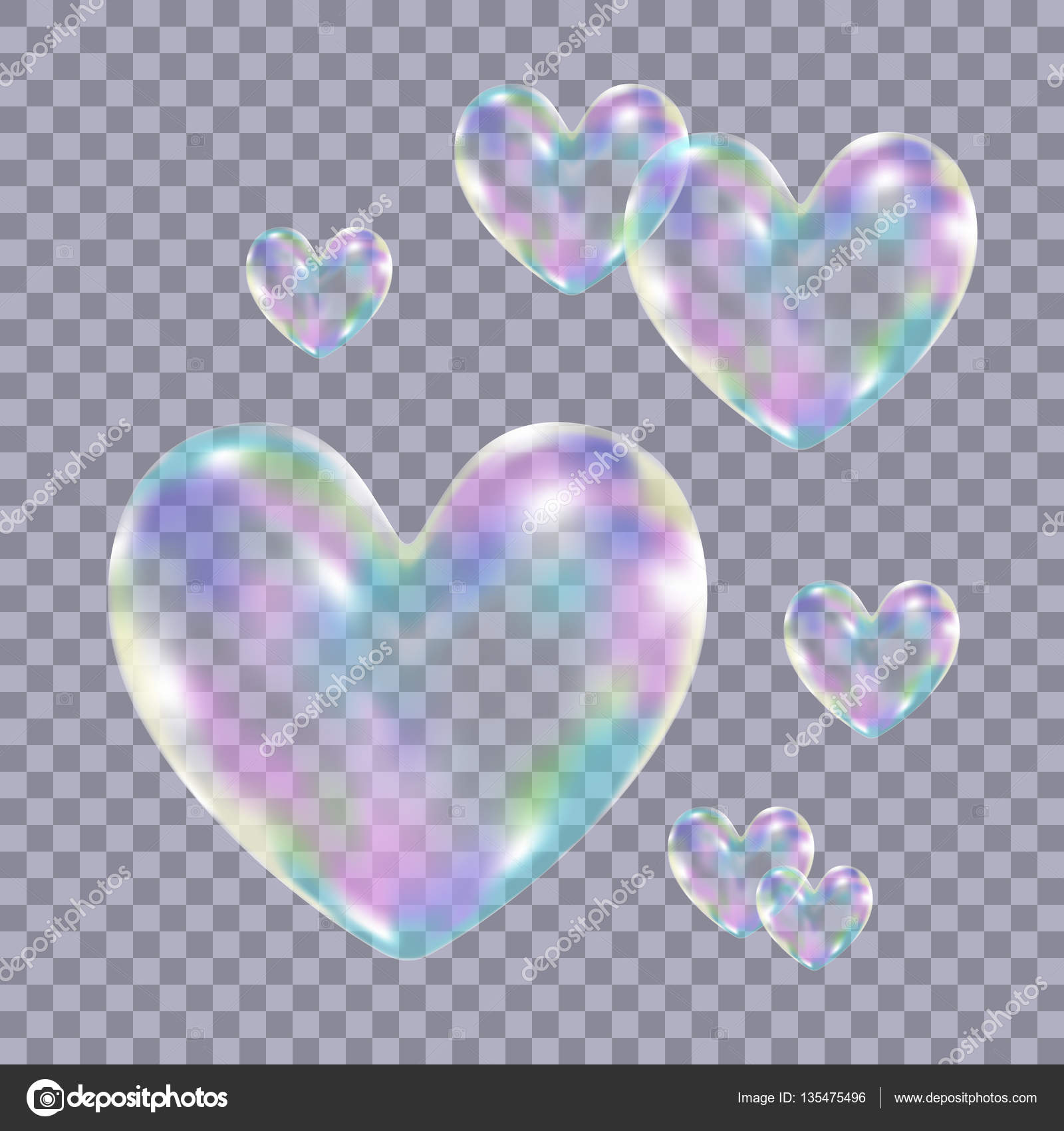 Realistic transparent colorful soap bubbles in form of the hear ...