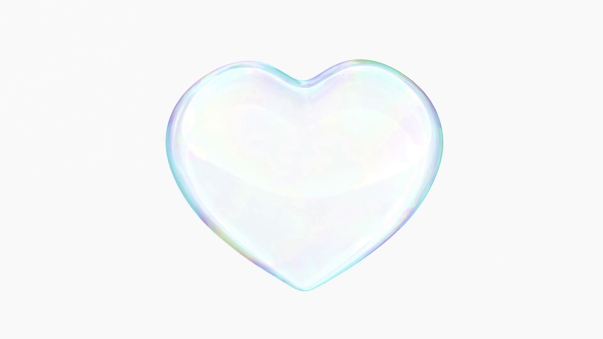 Soap bubble in shape of heart beats in the middle of the screen ...