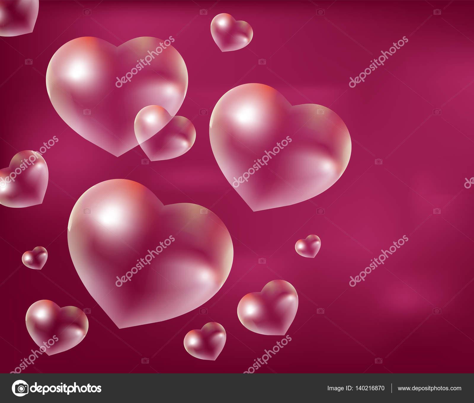 Realistic soap bubbles Heart-shaped. Drops of water in a shape ...