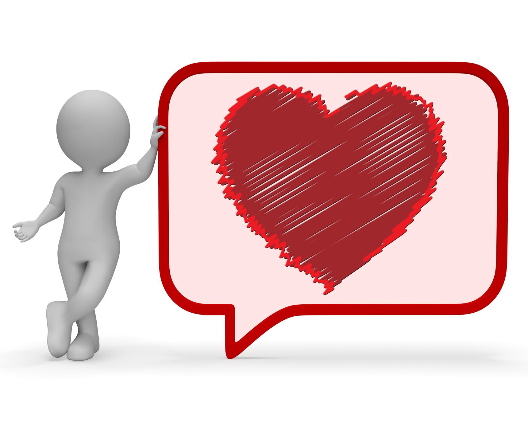 Heart Speech Bubble Means Valentines Day 3d Rendering, Relationship, Speechbubble, Speechballoon, Speech, HQ Photo
