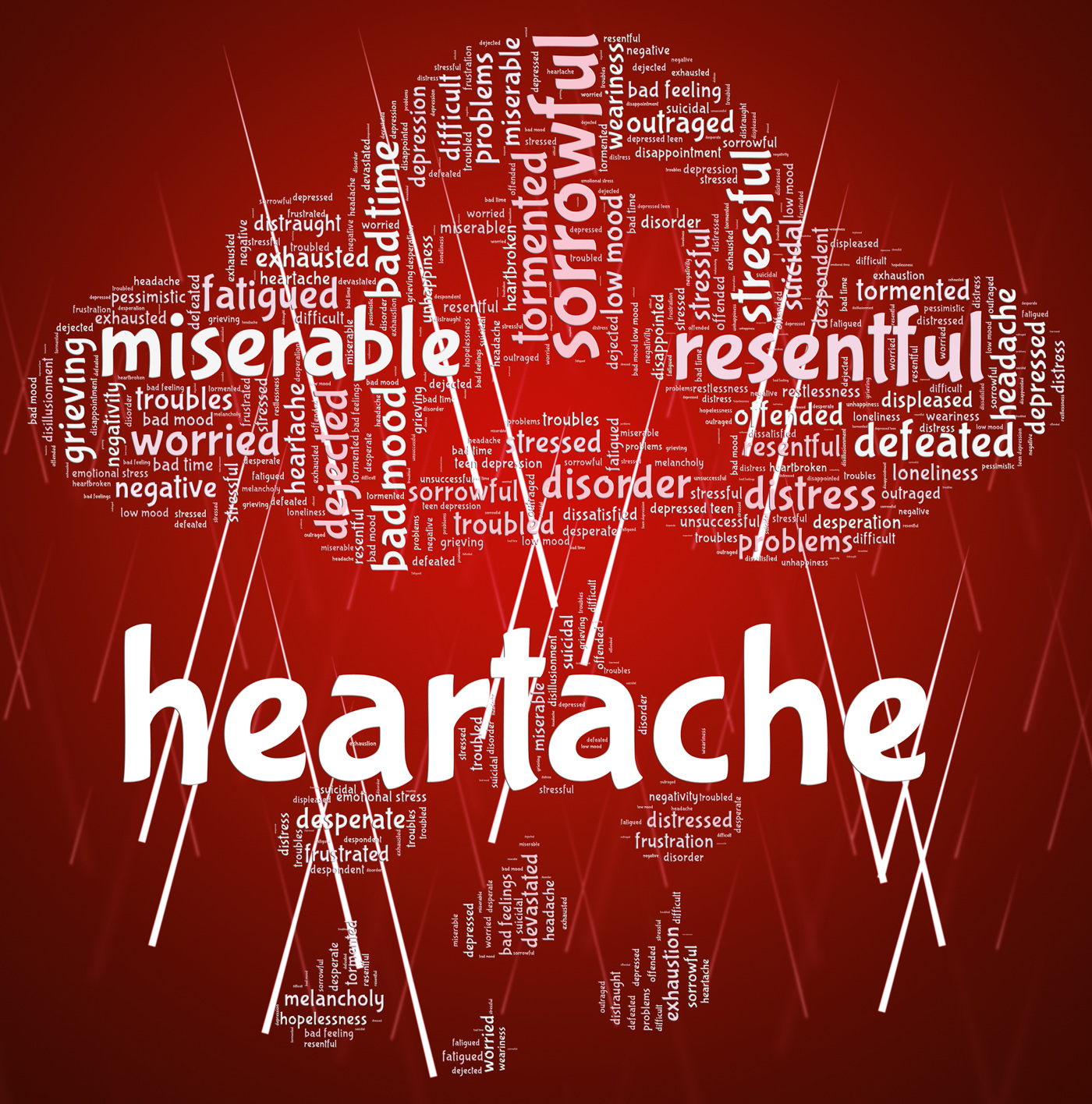 Heartache Word Represents Agony Grief And Distress, Agony, Sadness, Words, Wordclouds, HQ Photo