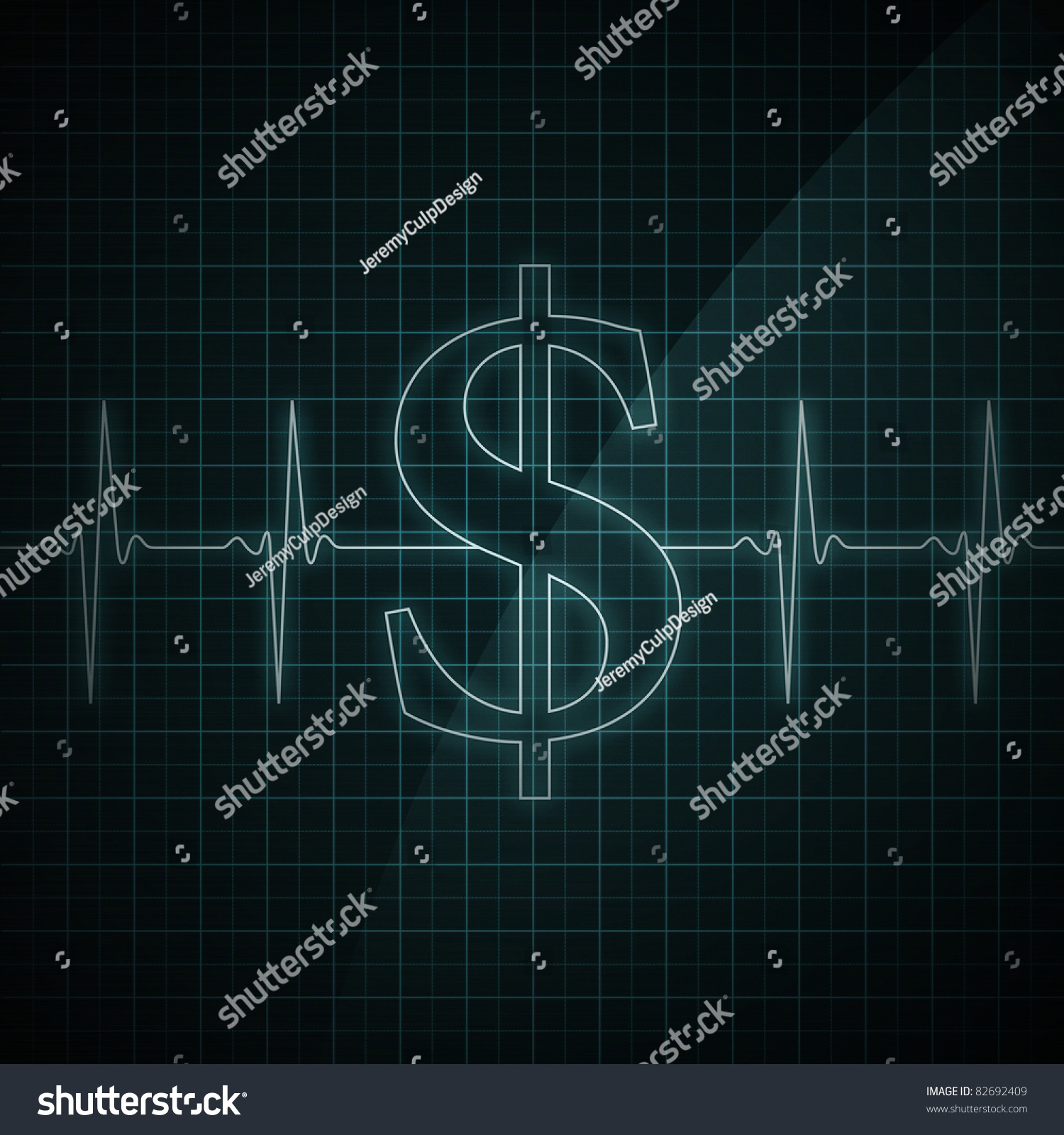 Heart Beat Monitor Showing Dollar Symbol Stock Illustration 82692409 ...