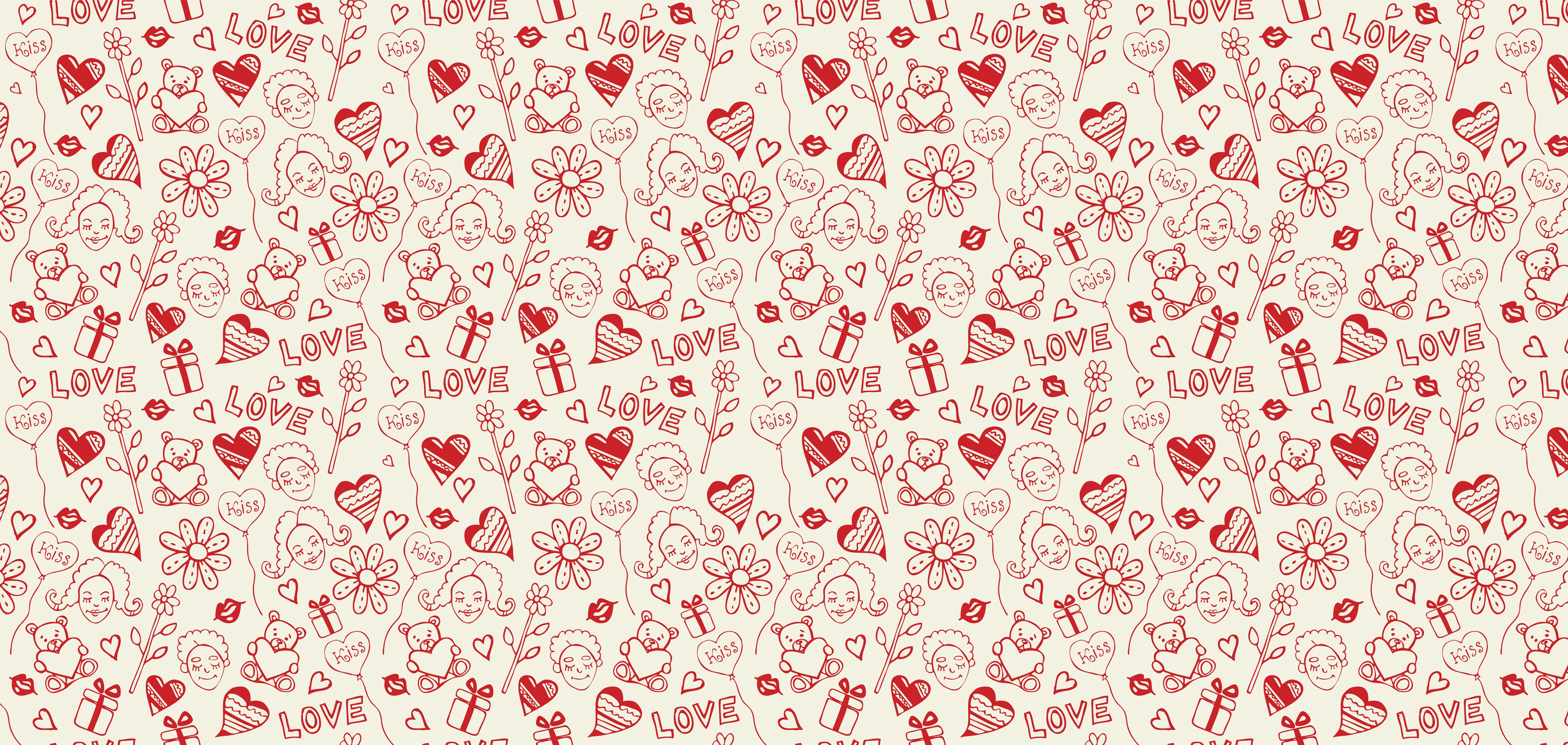 Download wallpaper 4000x1900 heart, background, pattern, surface ...