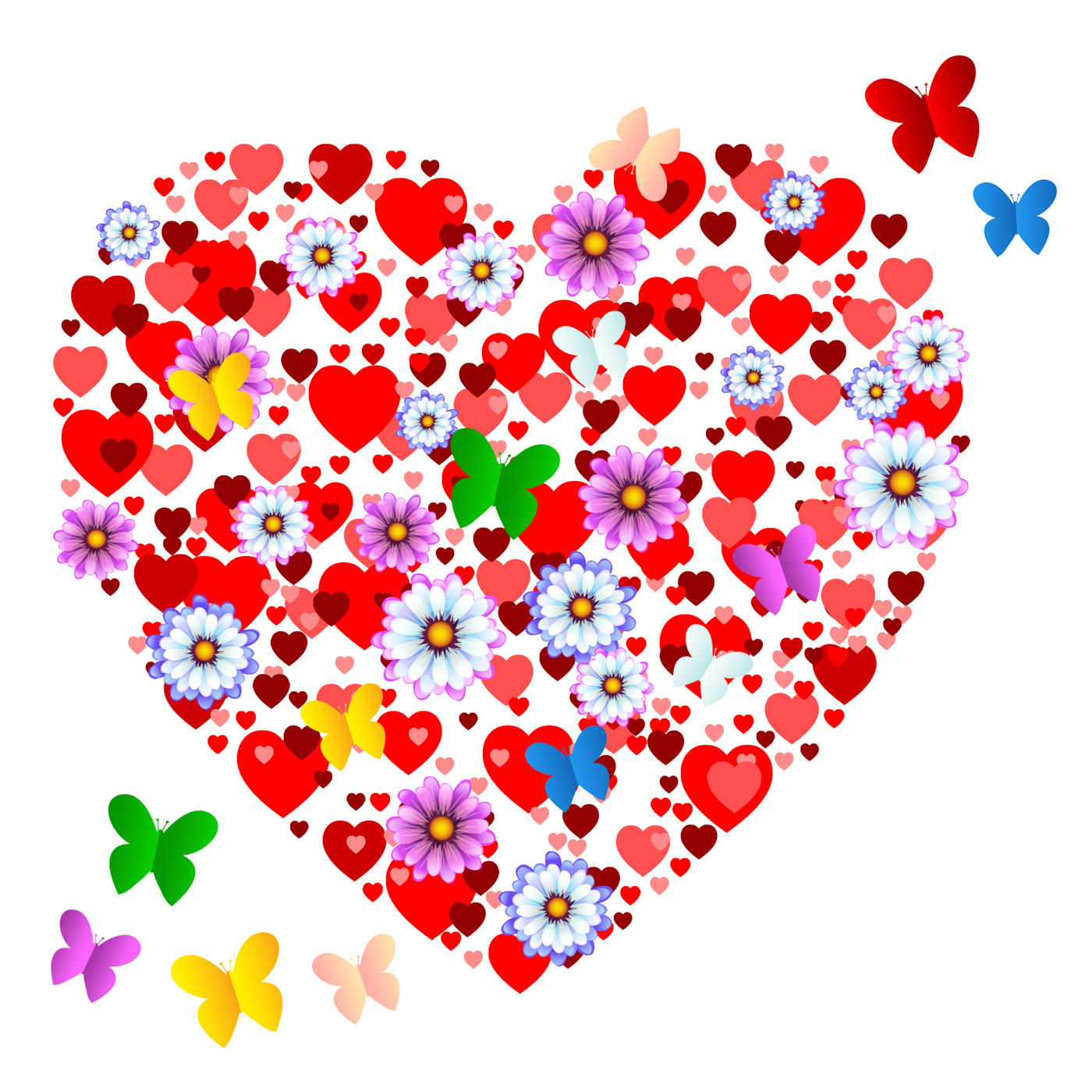 Hearts butterflies shows valentine day and animals photo