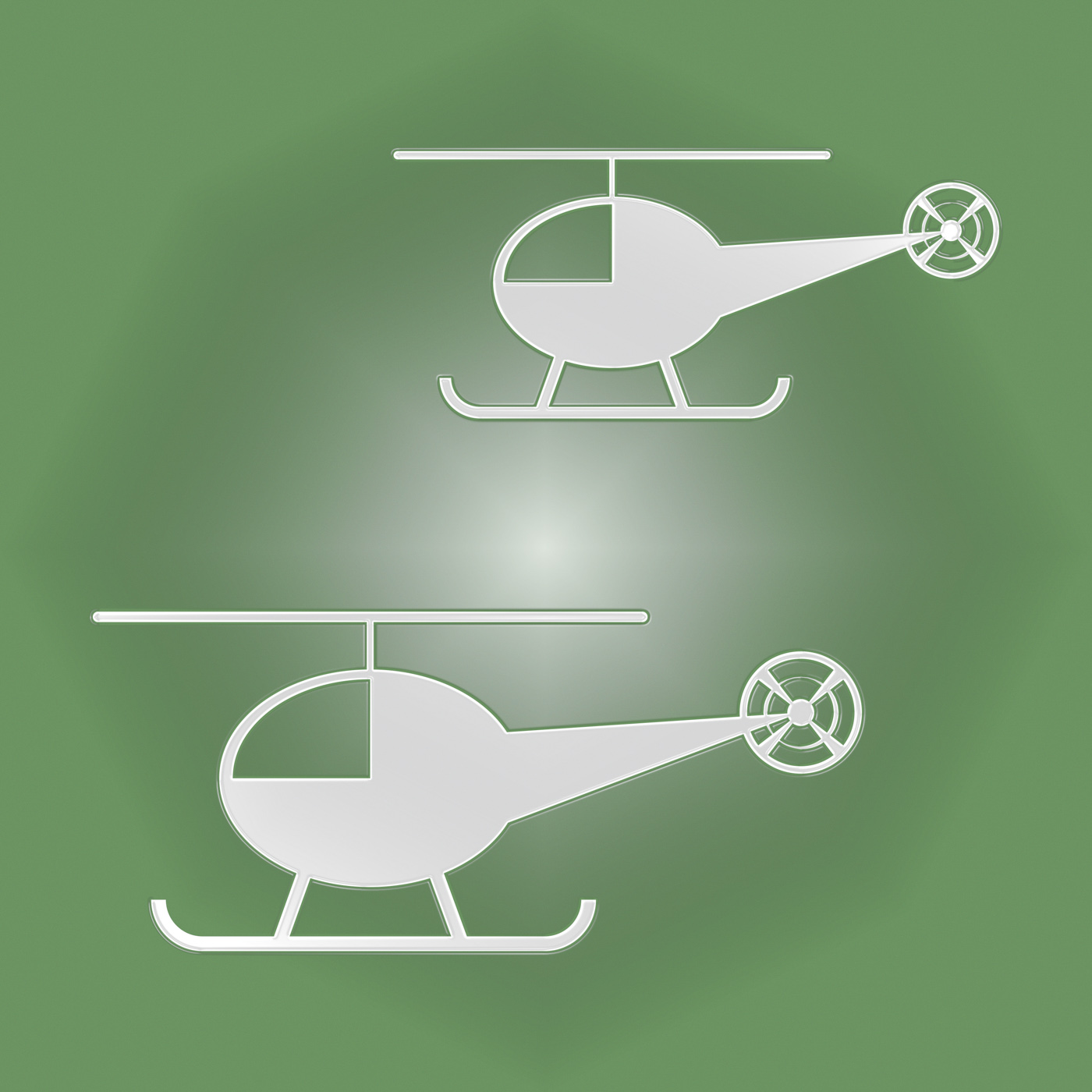 Helicopters icon shows rotor midair and flight photo