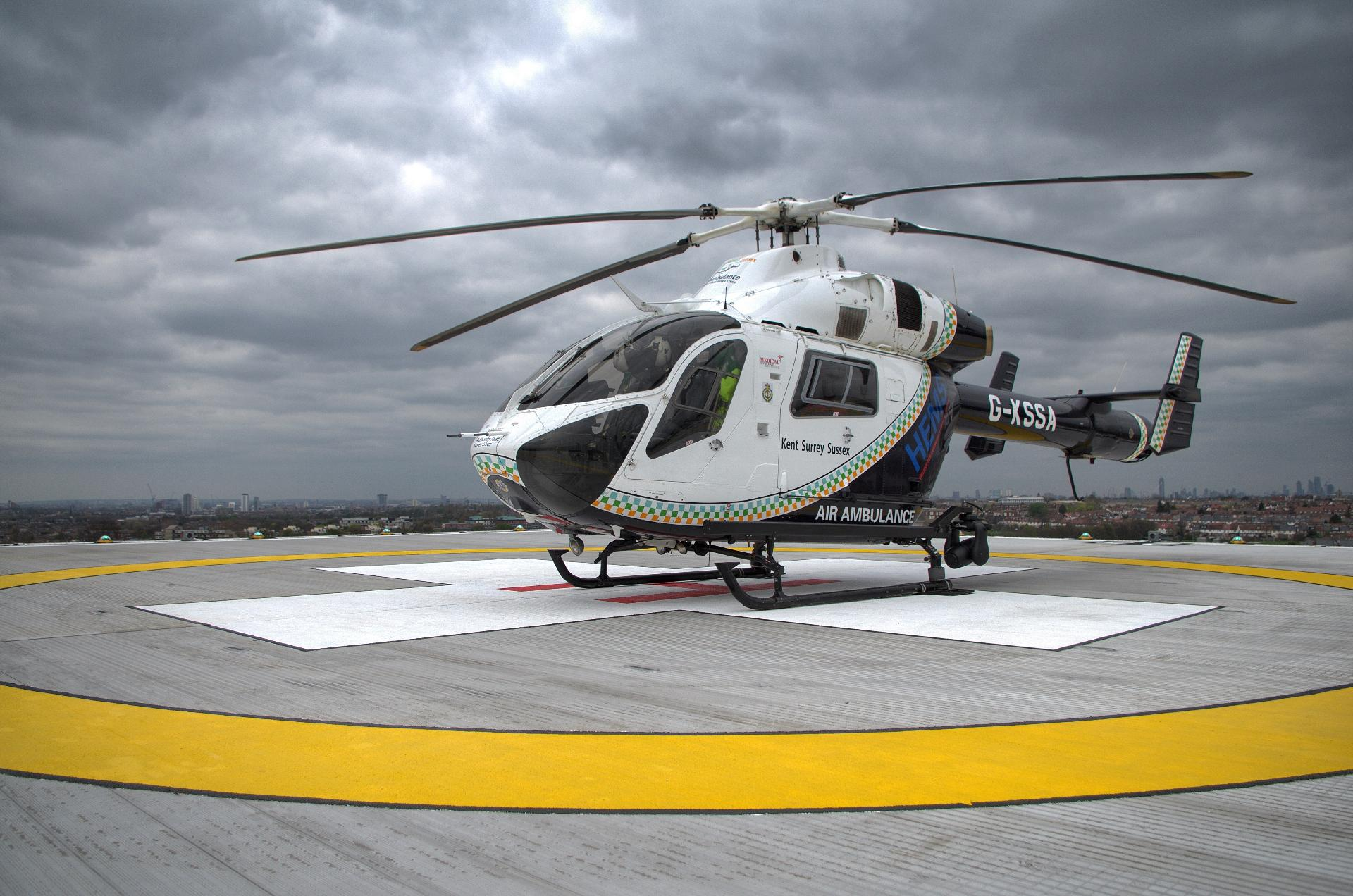 Helicopter on helipad | St George's Healthcare attachment