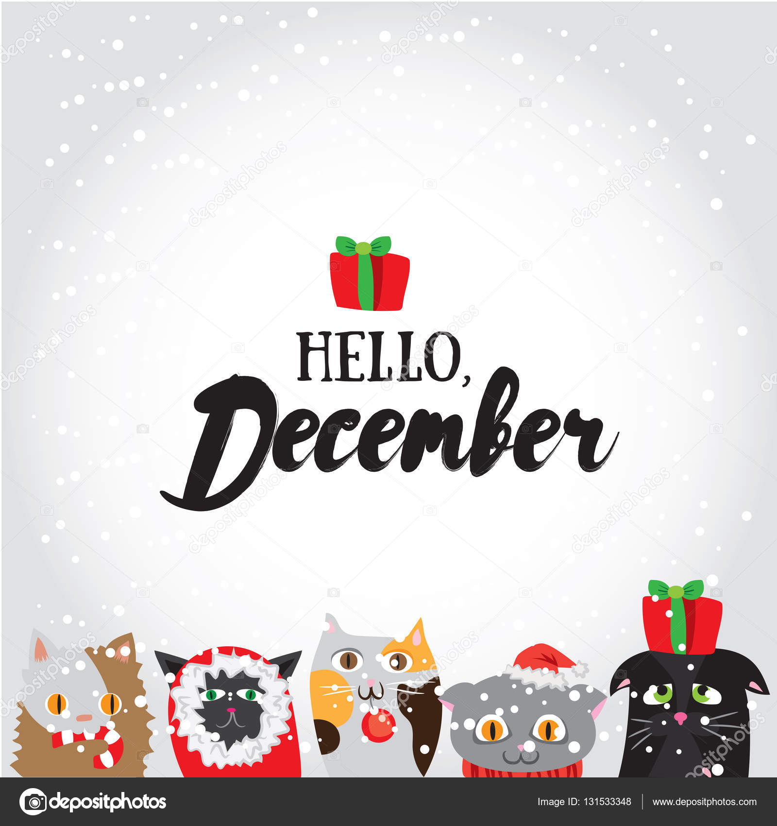 Hello, December. Holiday greeting card with cute cat characters and ...