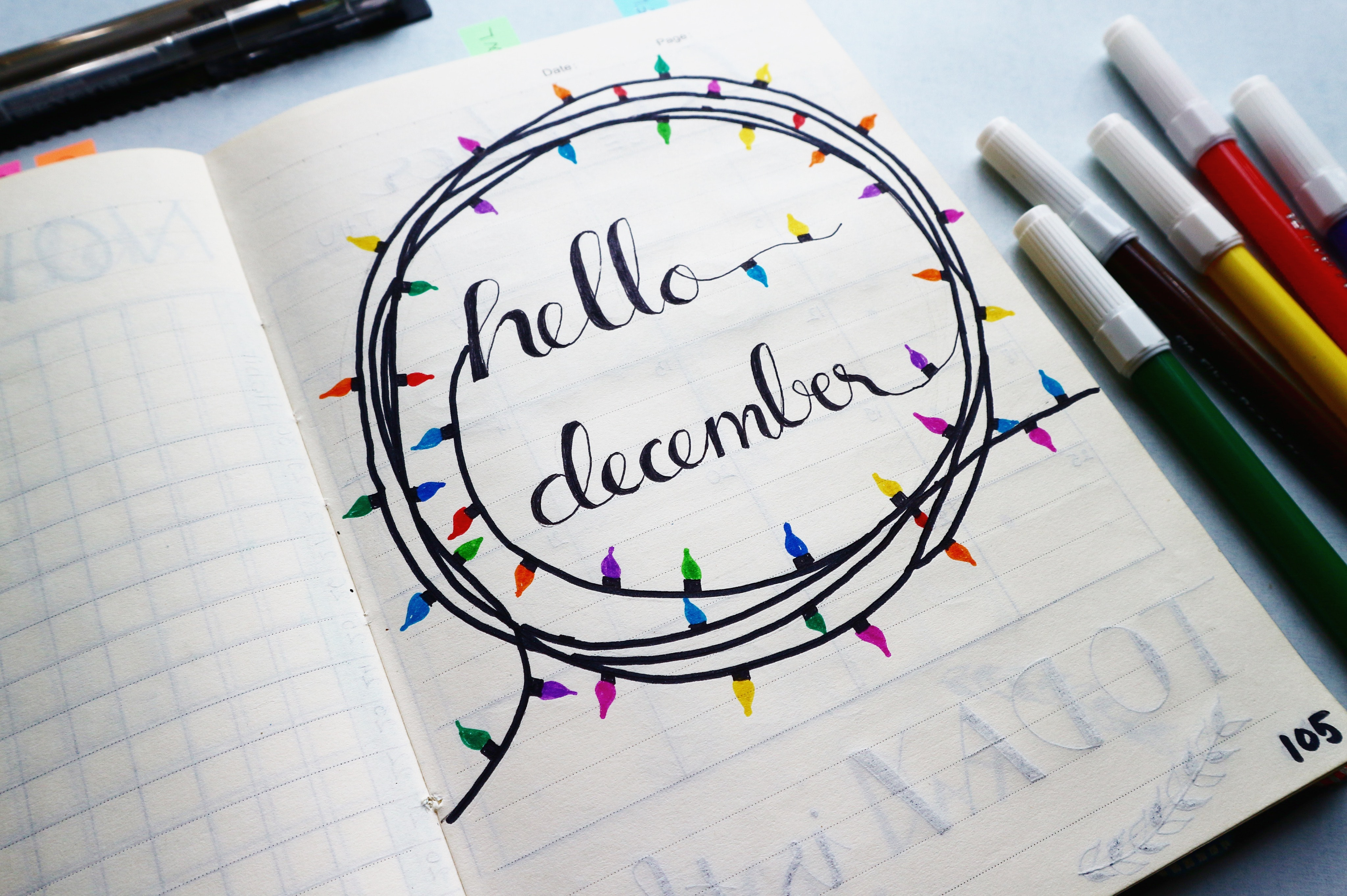 Hello December Calligraphy, Calligraphy, Colorful, Colourful, Composition, HQ Photo