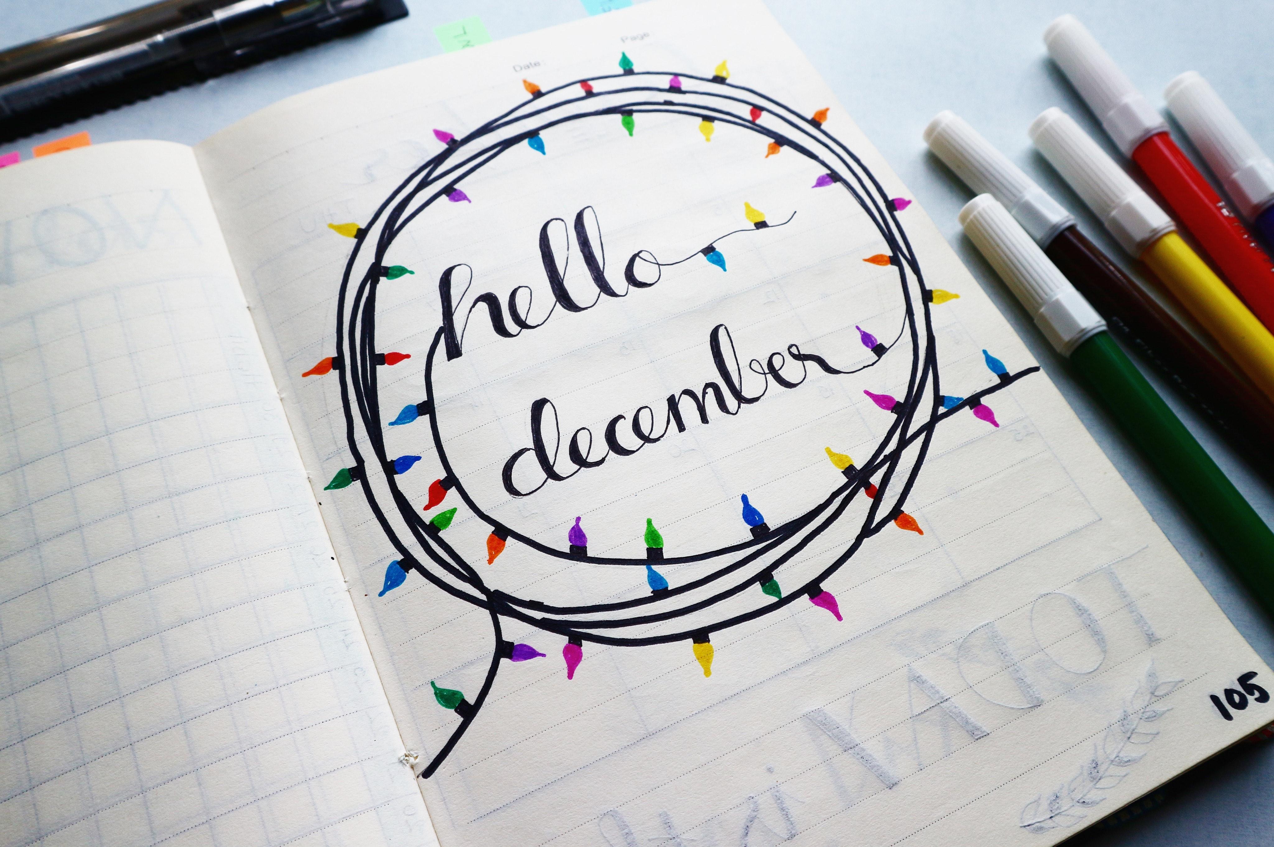Hello december calligraphy photo