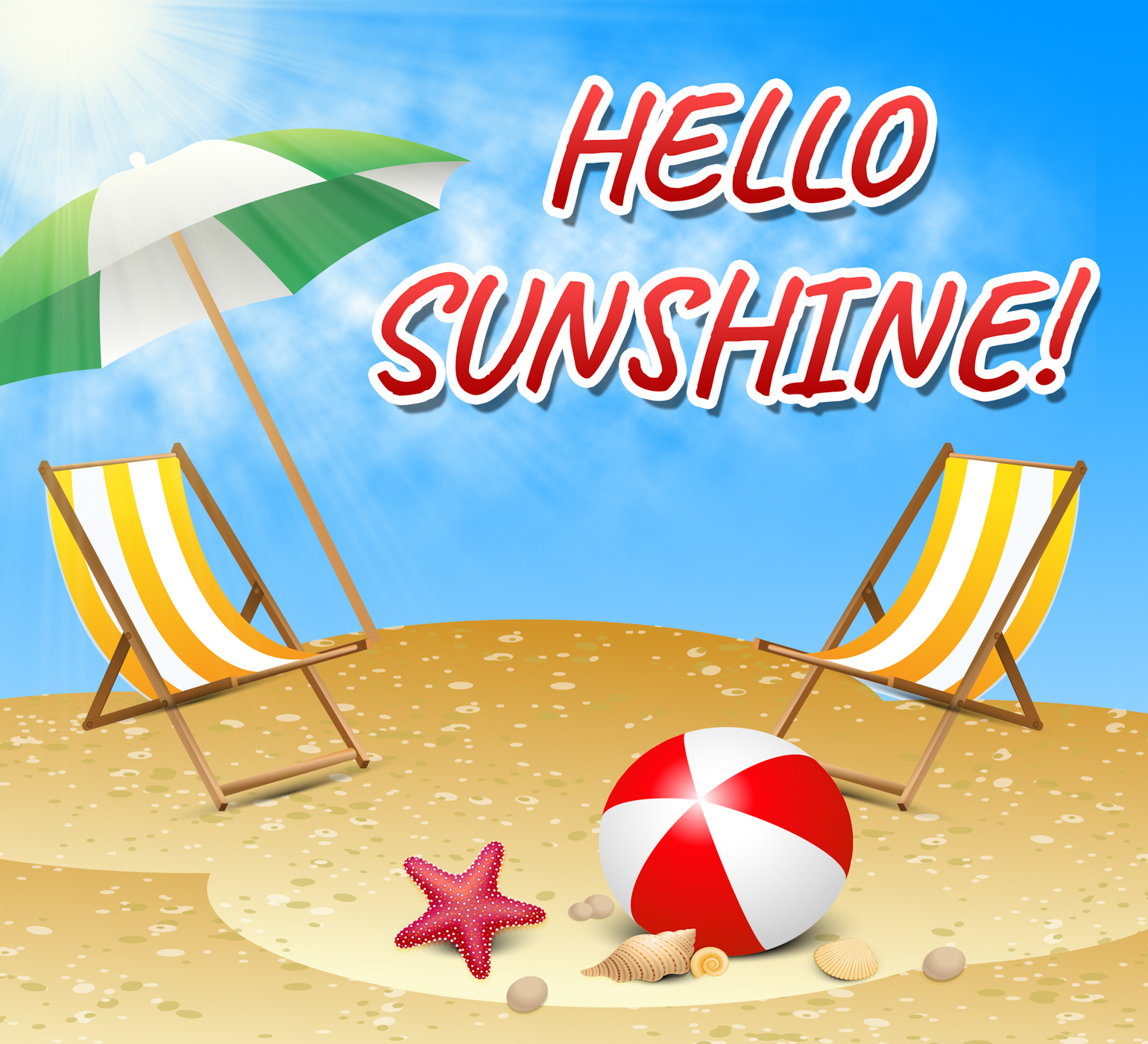 Hello Sunshine Represents Summer Time And Beaches, Sun, Summer, Summertime, Sunny, HQ Photo