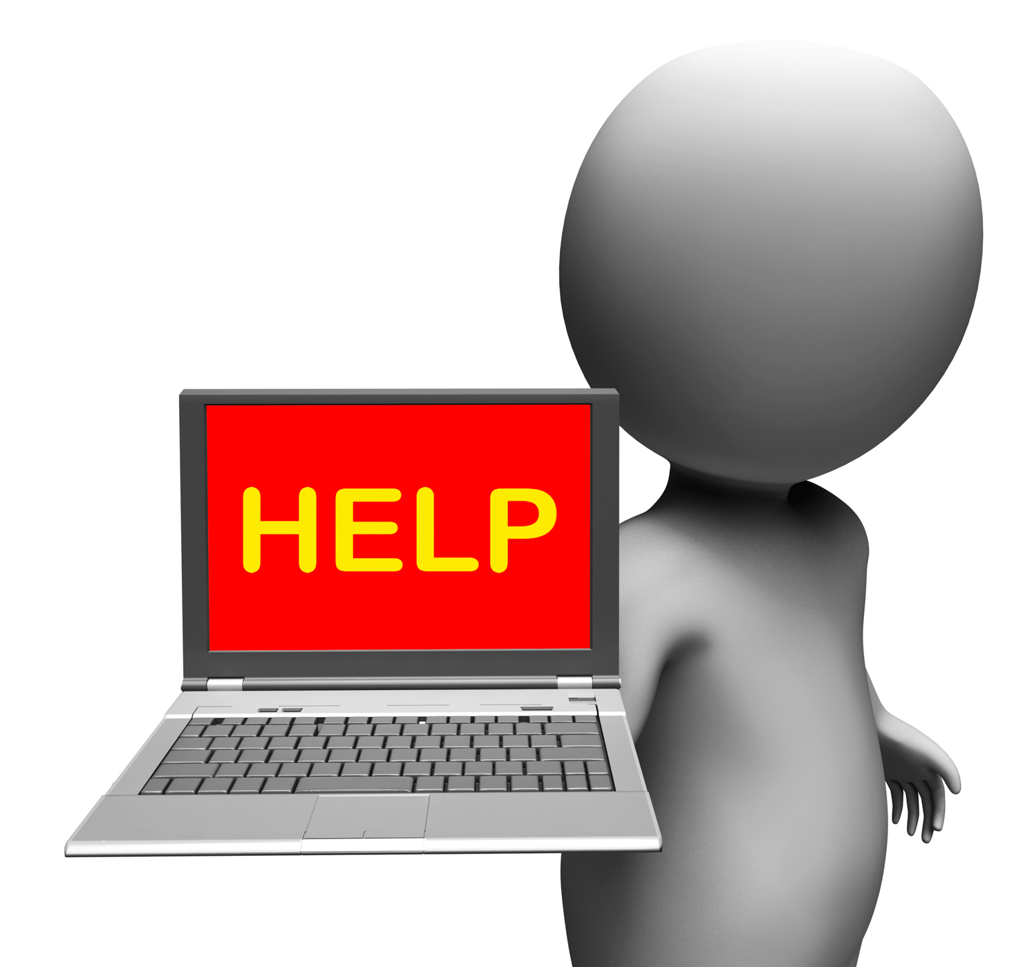 Help on laptop shows helping customer service help desk or support photo