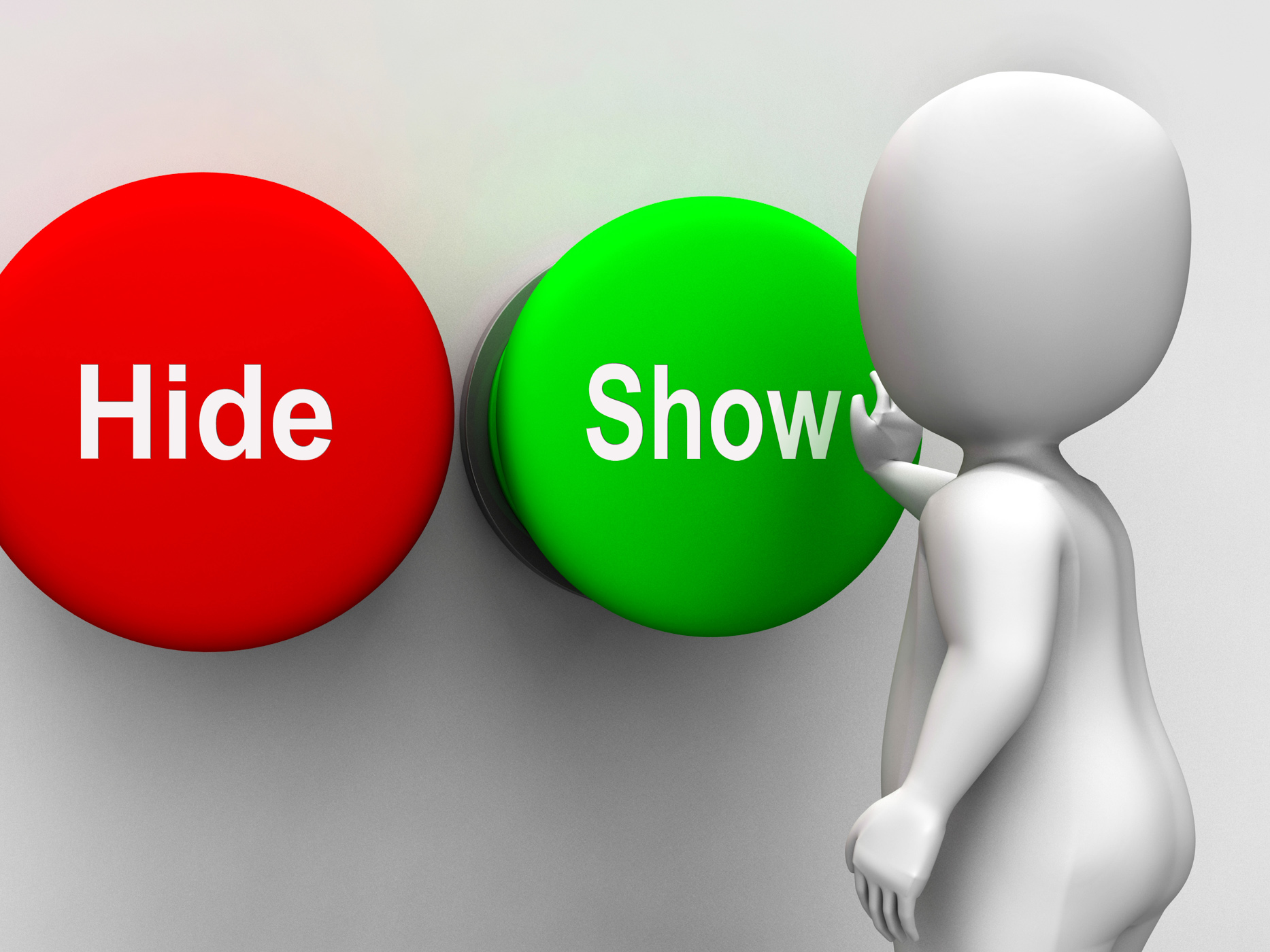 Hide show buttons means seek find look discover photo
