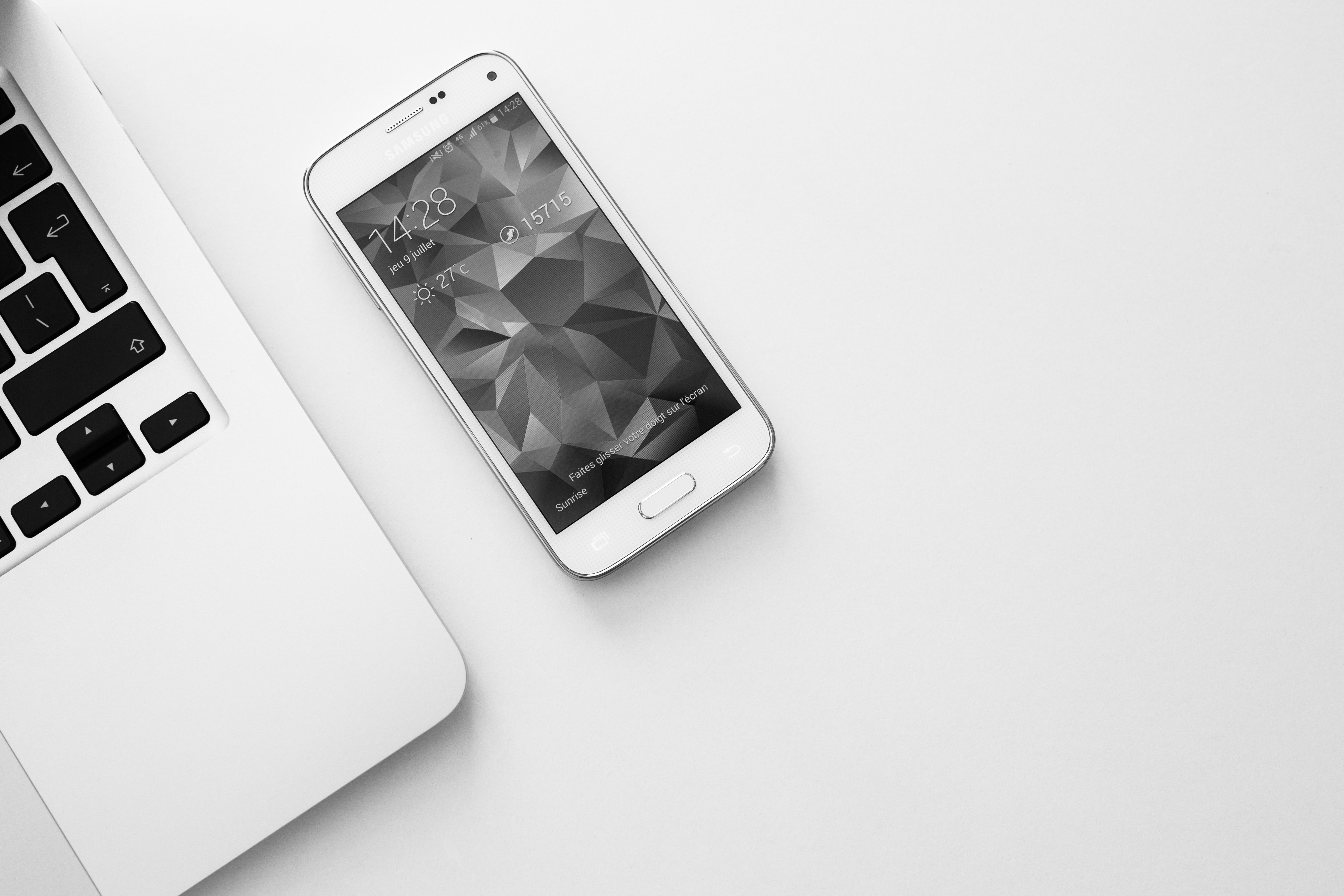 High Angle Shot Of Laptop And Smartphone, Black-and-white, Laptop, Technology, Smartphone, HQ Photo
