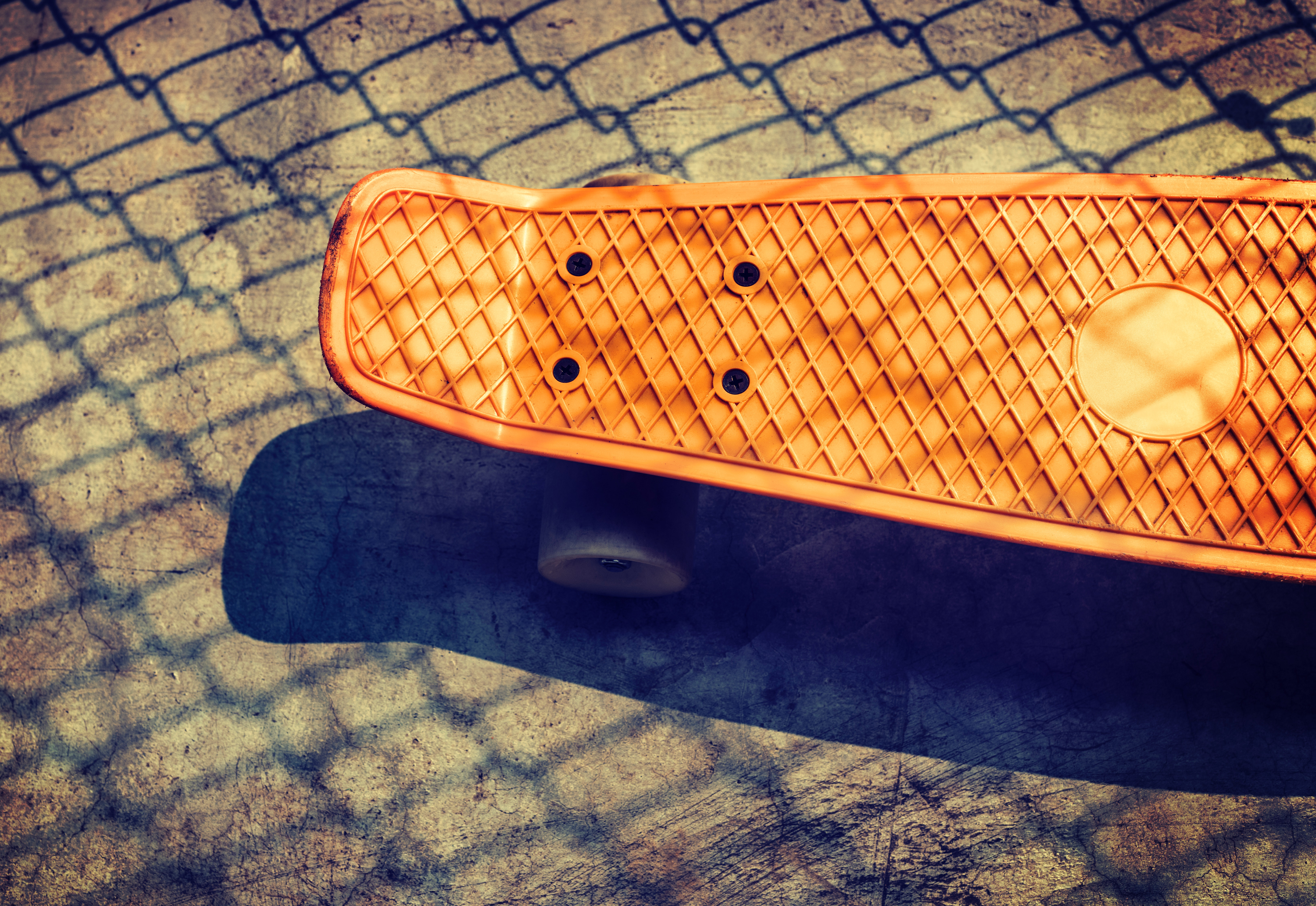 High angle view of a skateboard photo