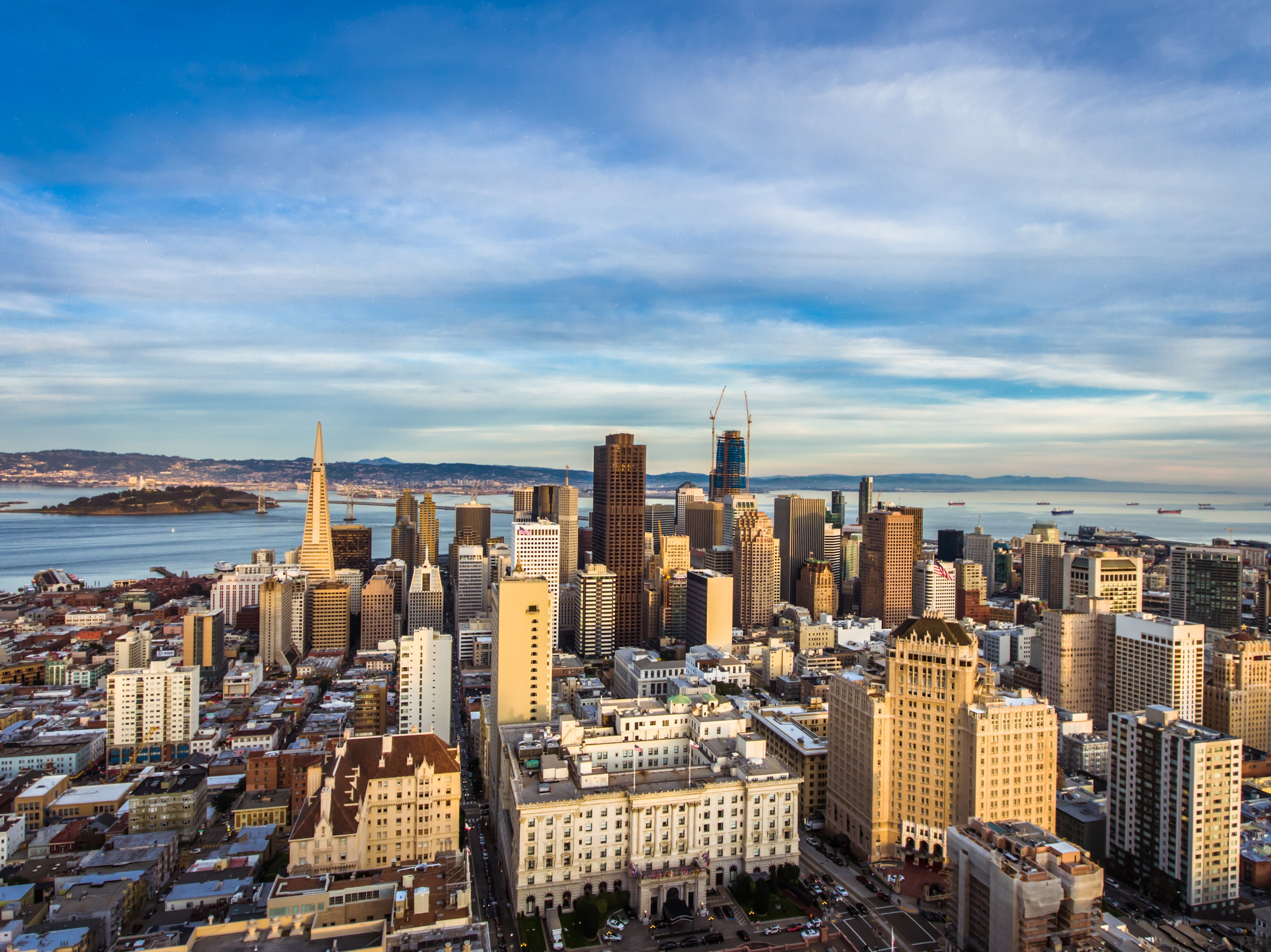 High Angle View of Cityscape Against Cloudy Sky, Aerial view, Office, Outdoors, Pacific, HQ Photo