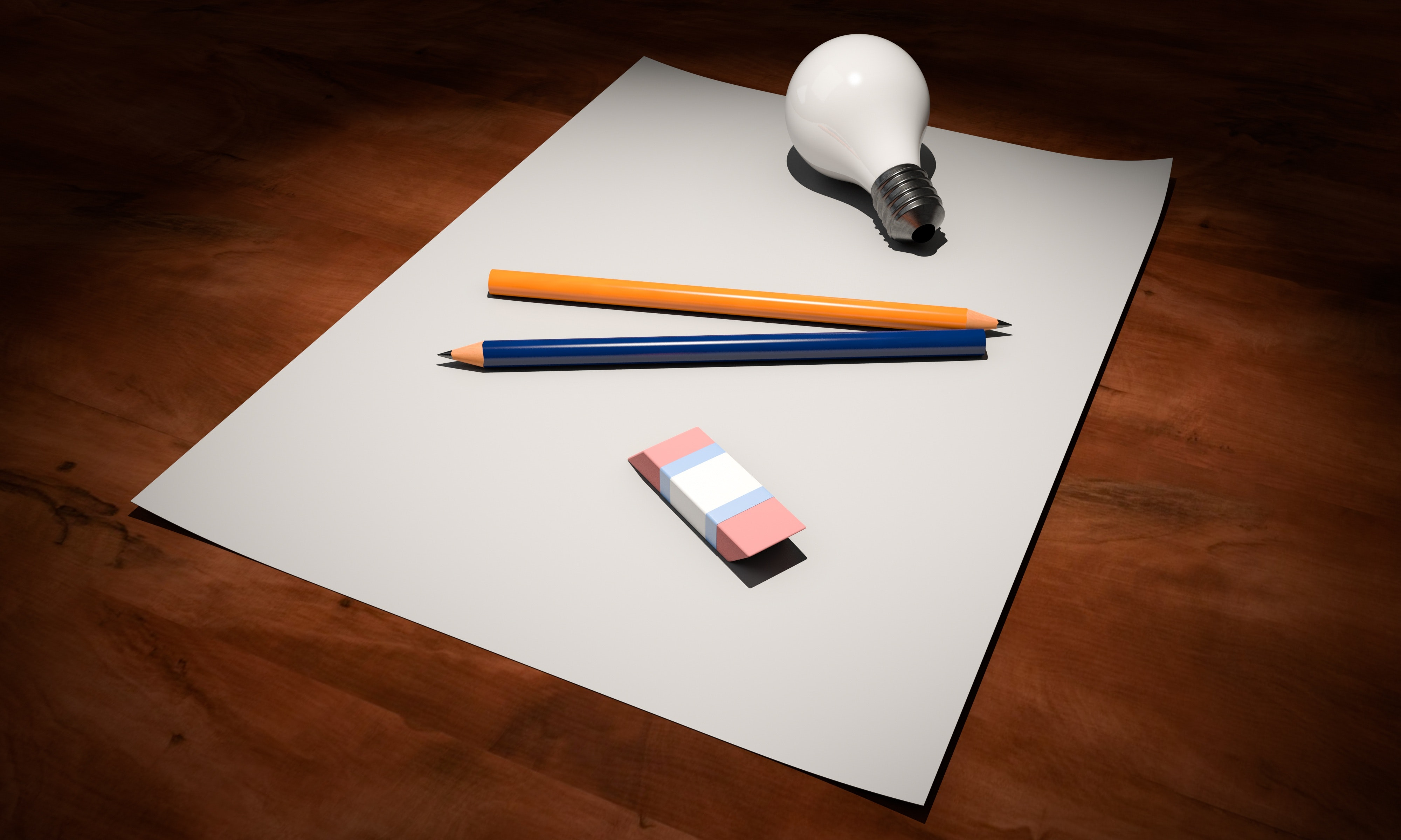 High Angle View of Pencils on Table, Light bulb, Write, Wooden table top, White, HQ Photo