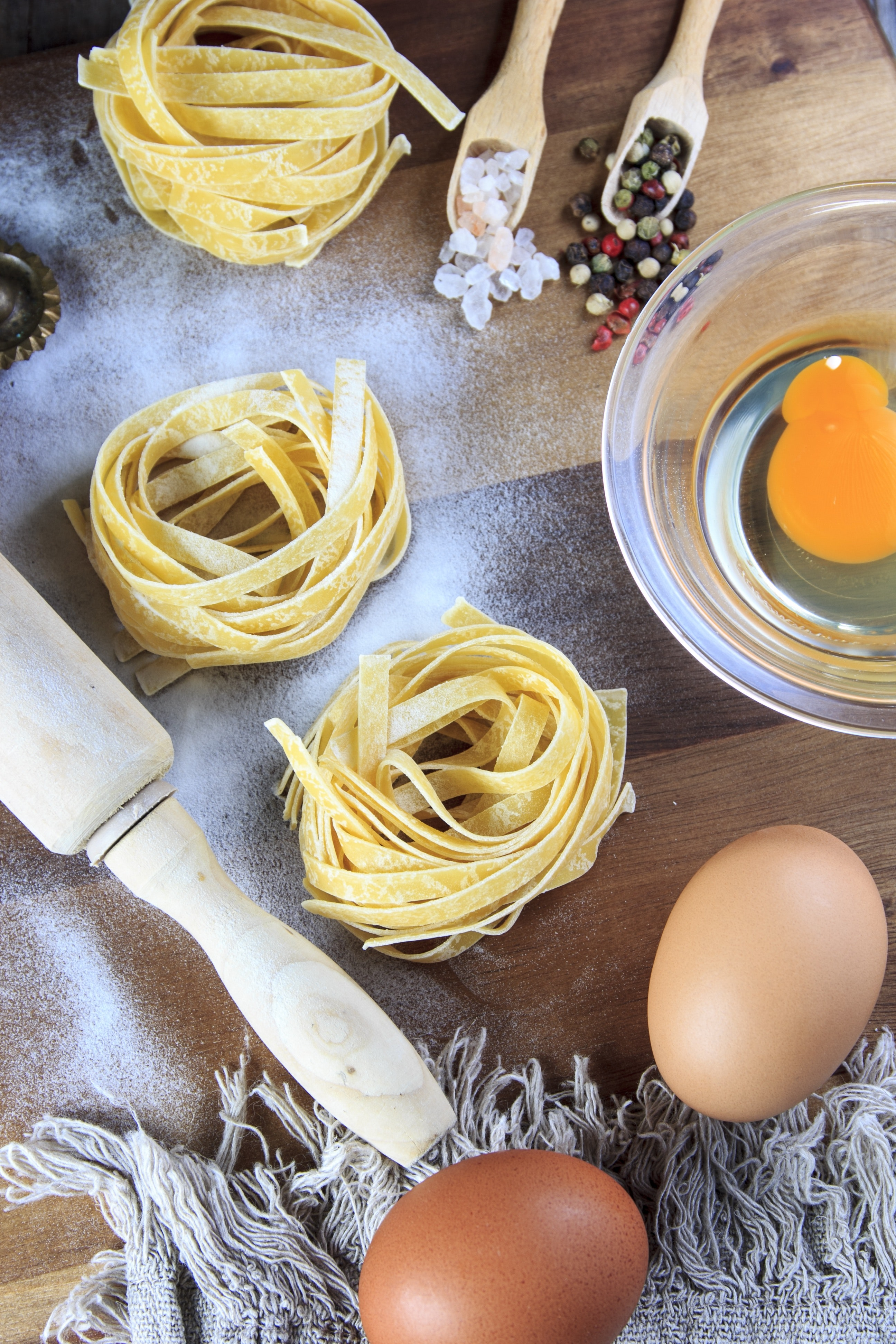 High Angle View of People on Table, Spaghetti, Spice, Salt, Raw, HQ Photo