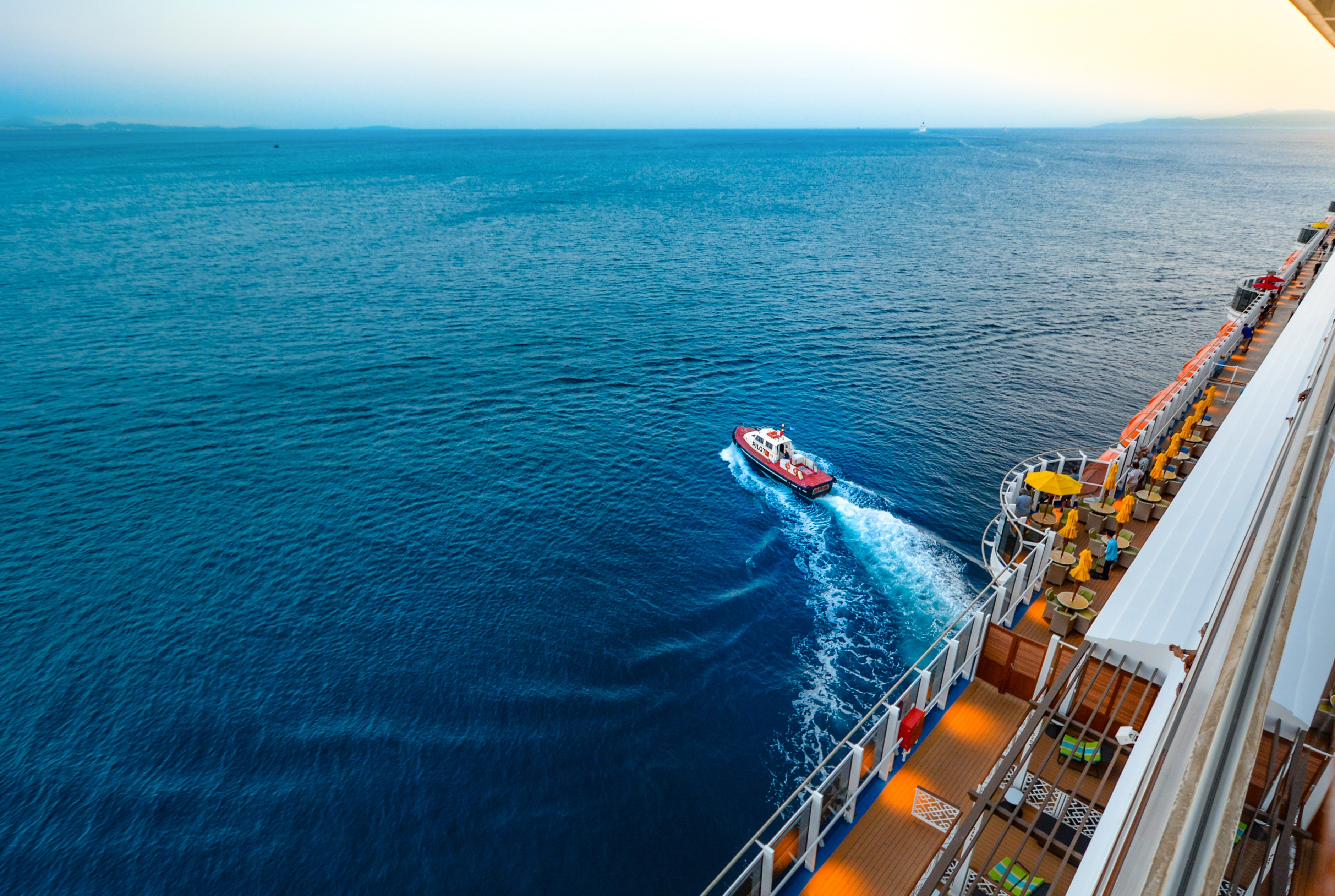 High angle view of people sailing on sea photo