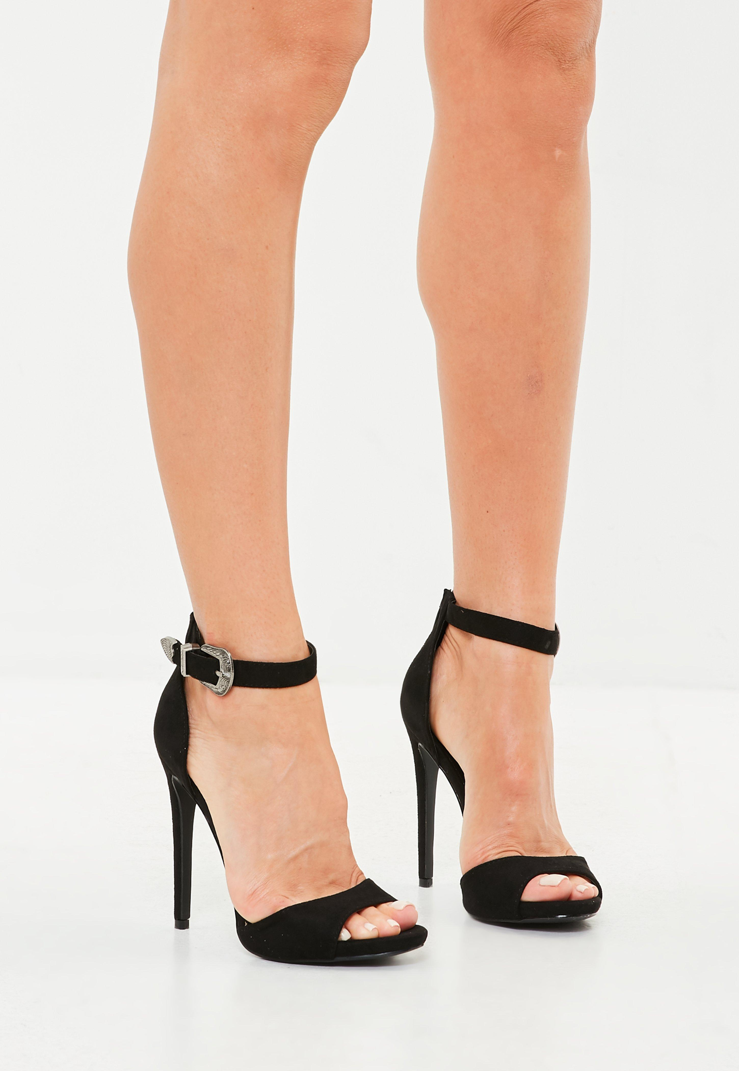 Black Western Buckle High Heel Sandals | Missguided