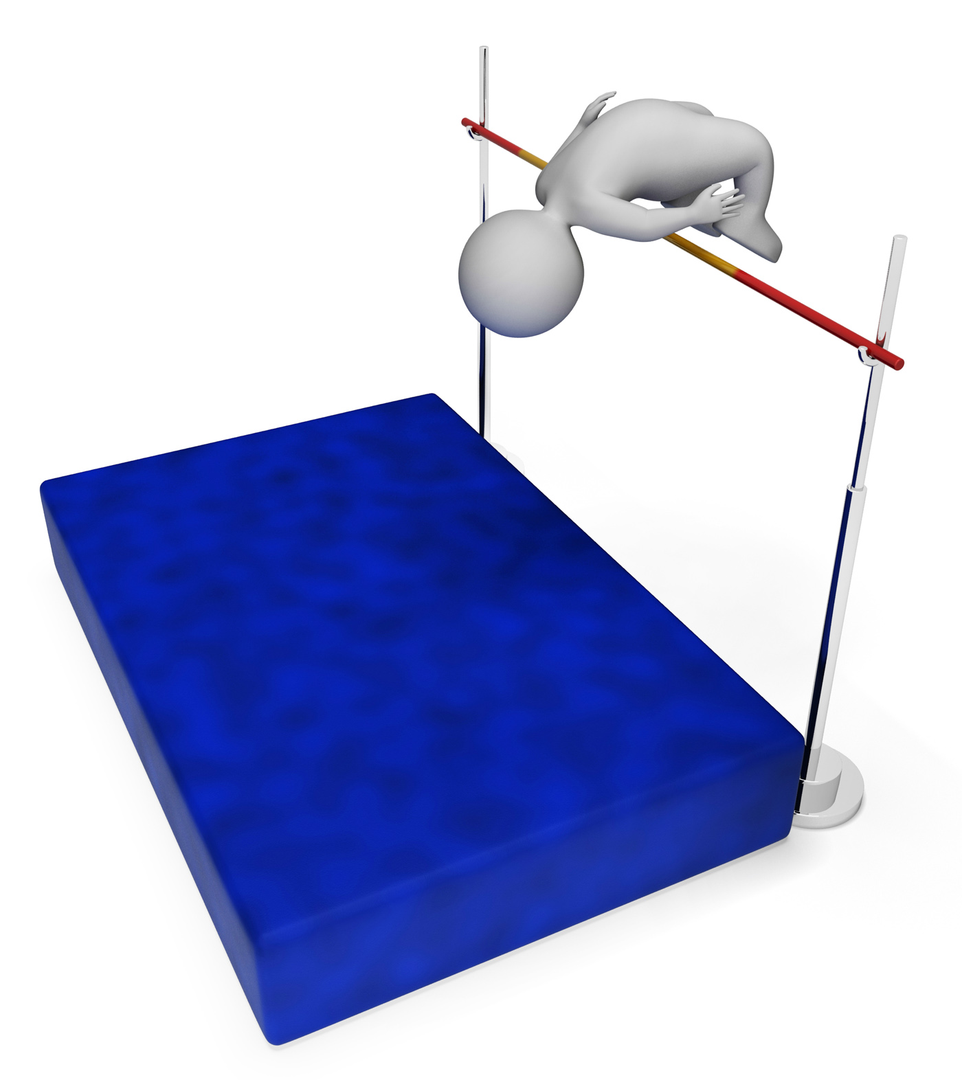 High jump means pole vault and athletic 3d rendering photo