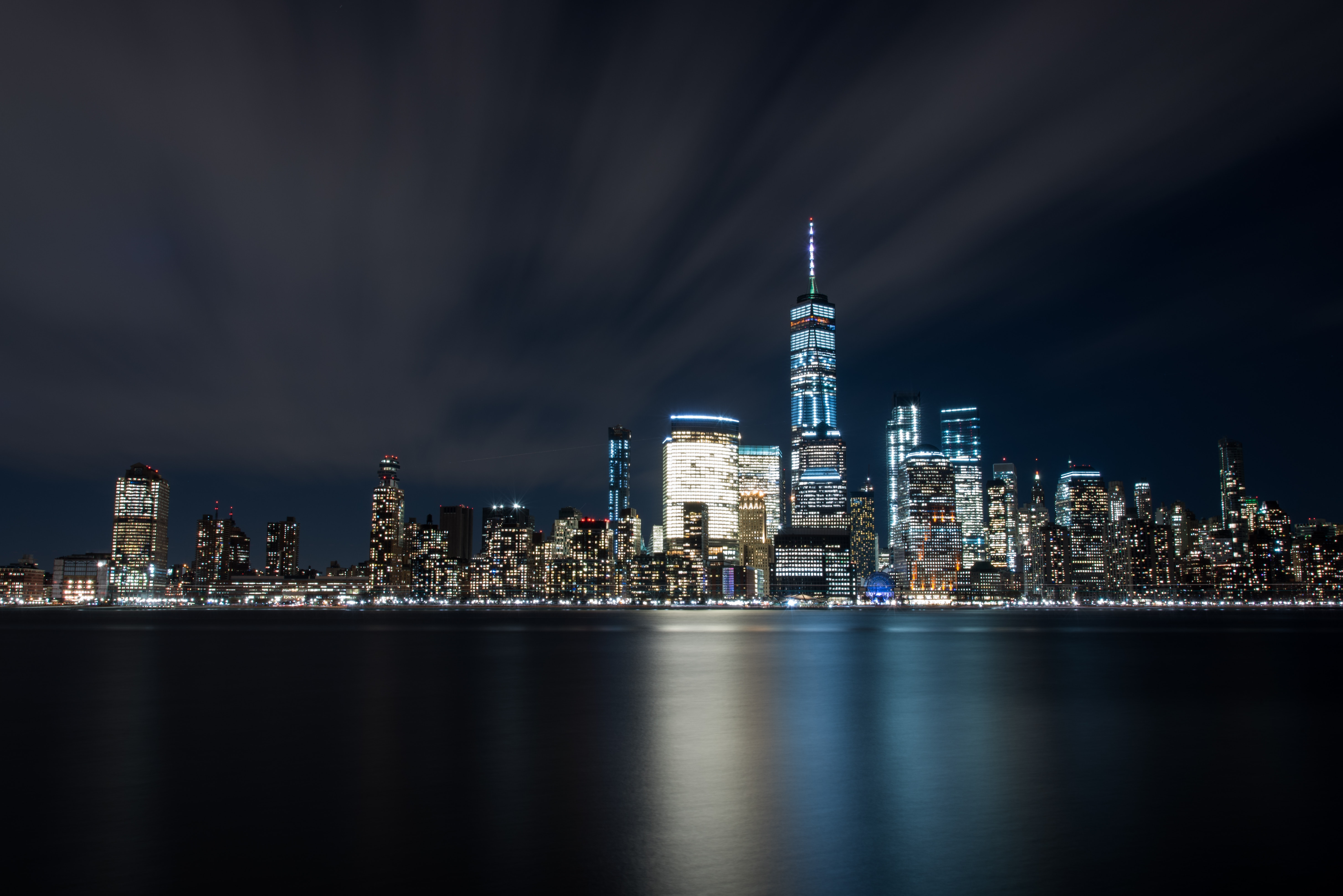 High-rise Buildings at Night Near Sea, Nyc, Waterfront, Water, Urban, HQ Photo