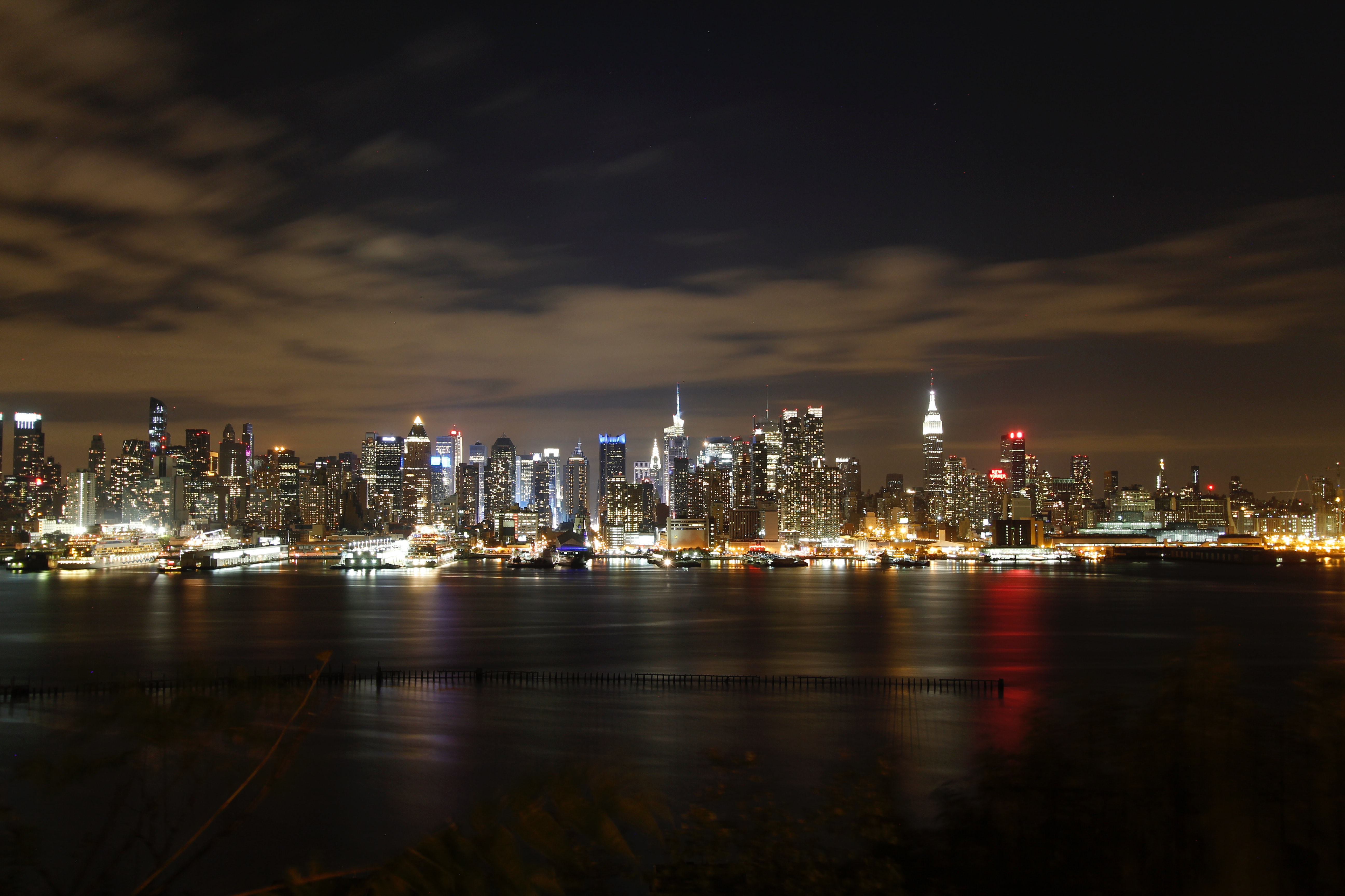High Rise Buildings during Nighttime, Architecture, Panoramic, Water, View, HQ Photo