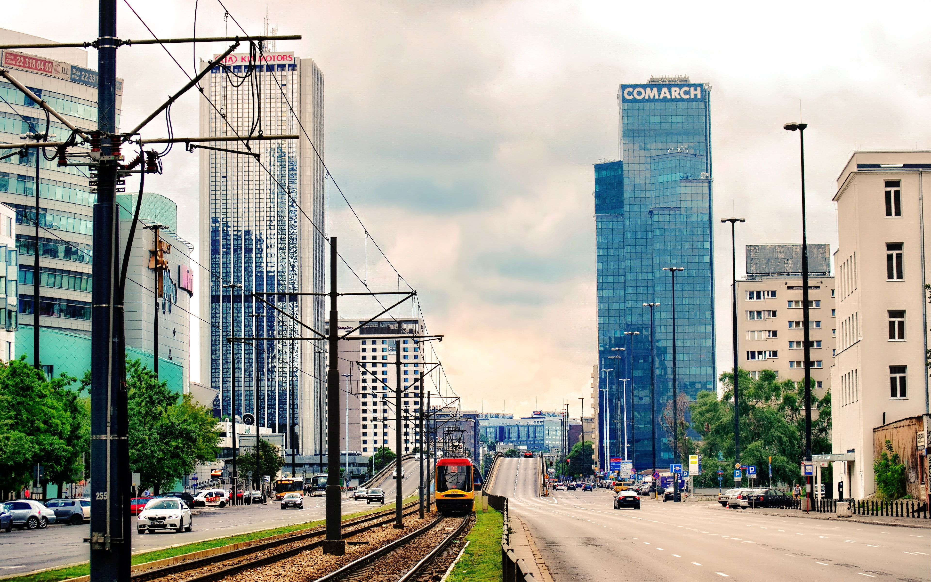 High Rise Buildings Under Gray Cloudy Sky, Architecture, Road, Trees, Transportation system, HQ Photo