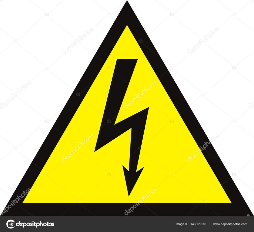 High Voltage Sign. Danger symbol. Black arrow isolated in yellow ...
