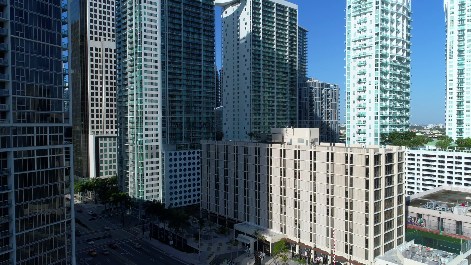Aerial Simulated Static View Brickell Avenue And Highrise Buildings ...