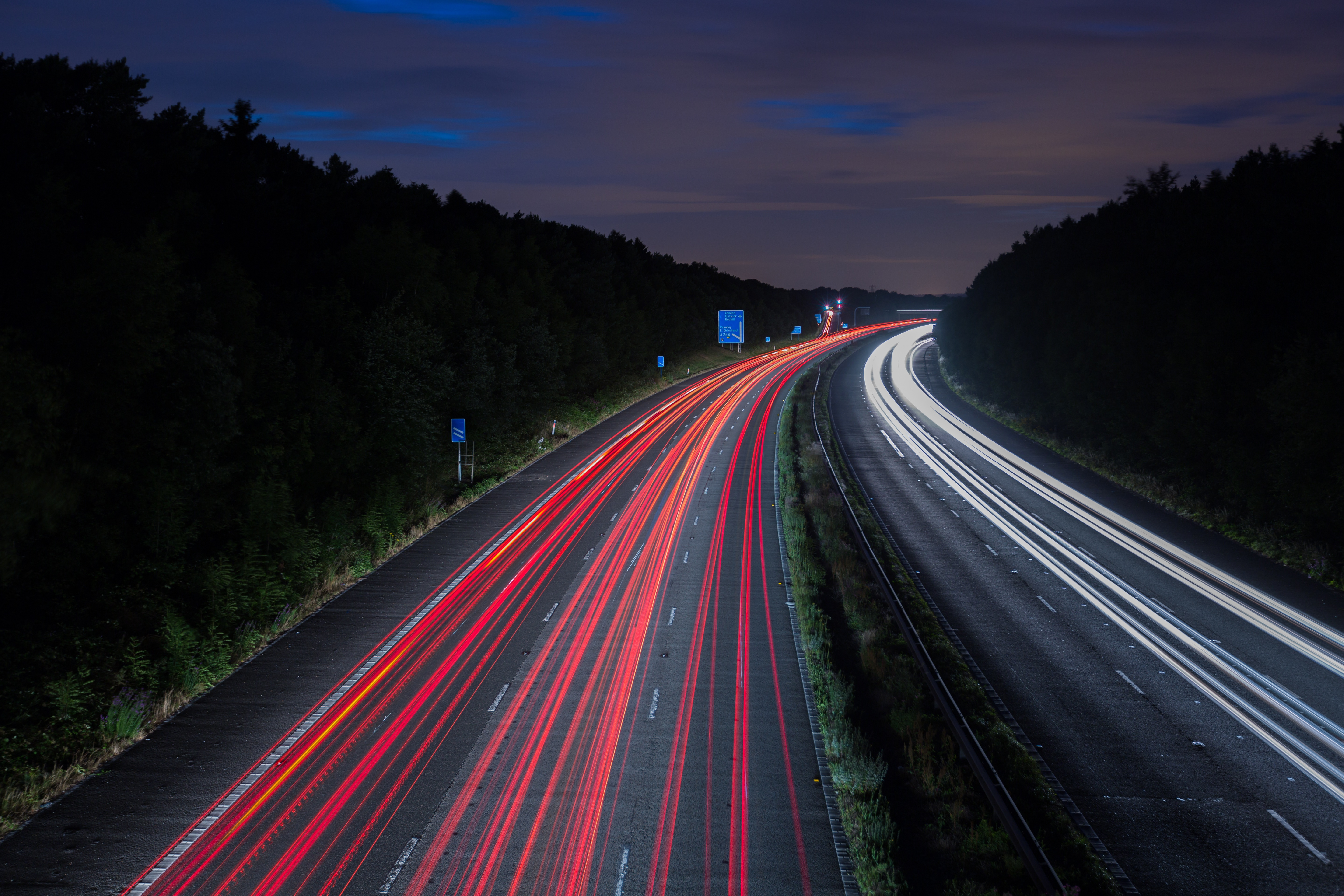 Highway, Traffic, Way, Road, Night, HQ Photo