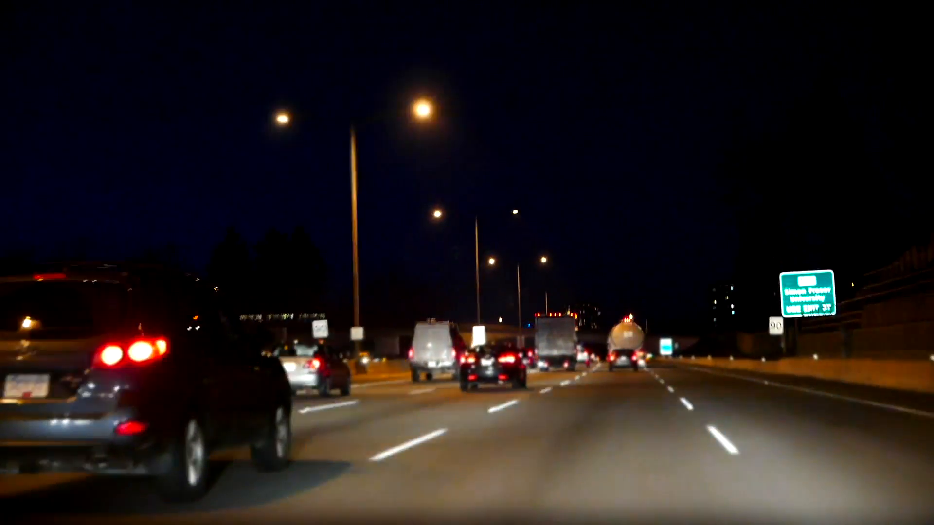 Blur motion of driving car in highway at night with miniature effect ...