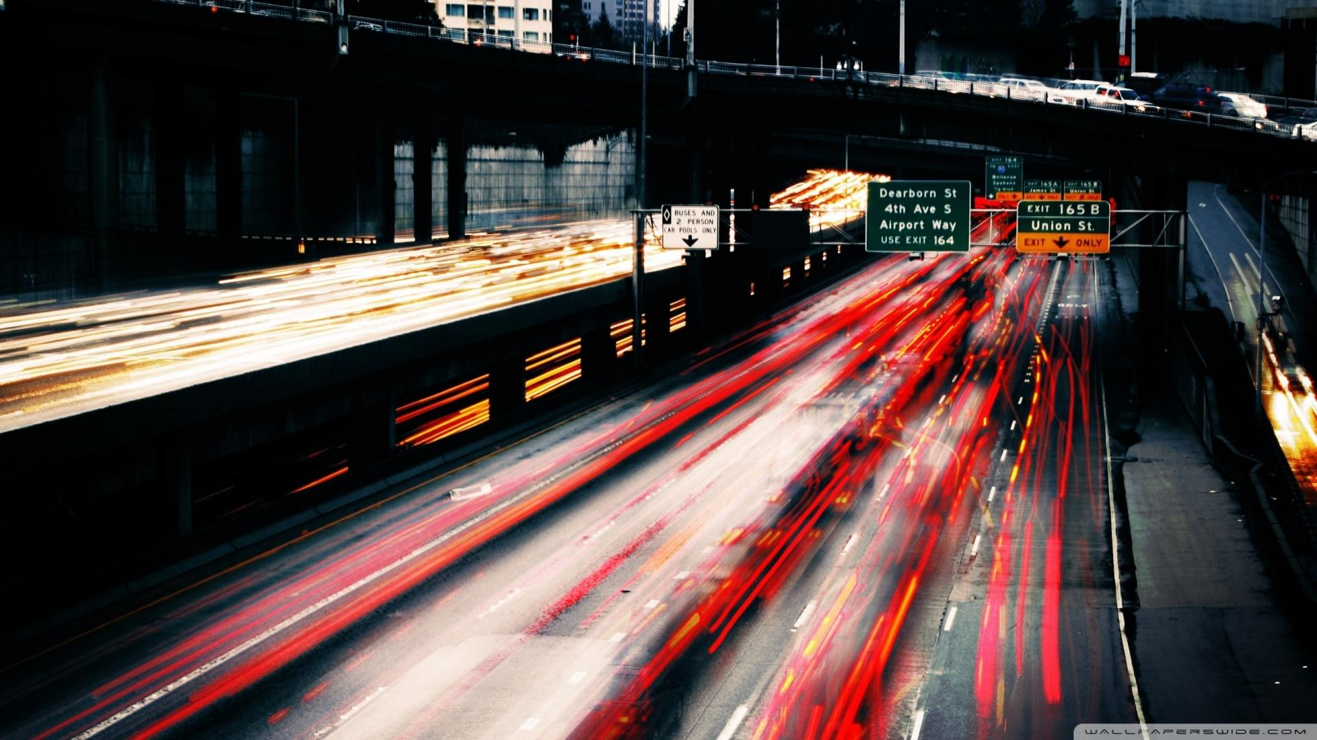Highway Car Lights In Long Exposure wallpaper | travel and world ...