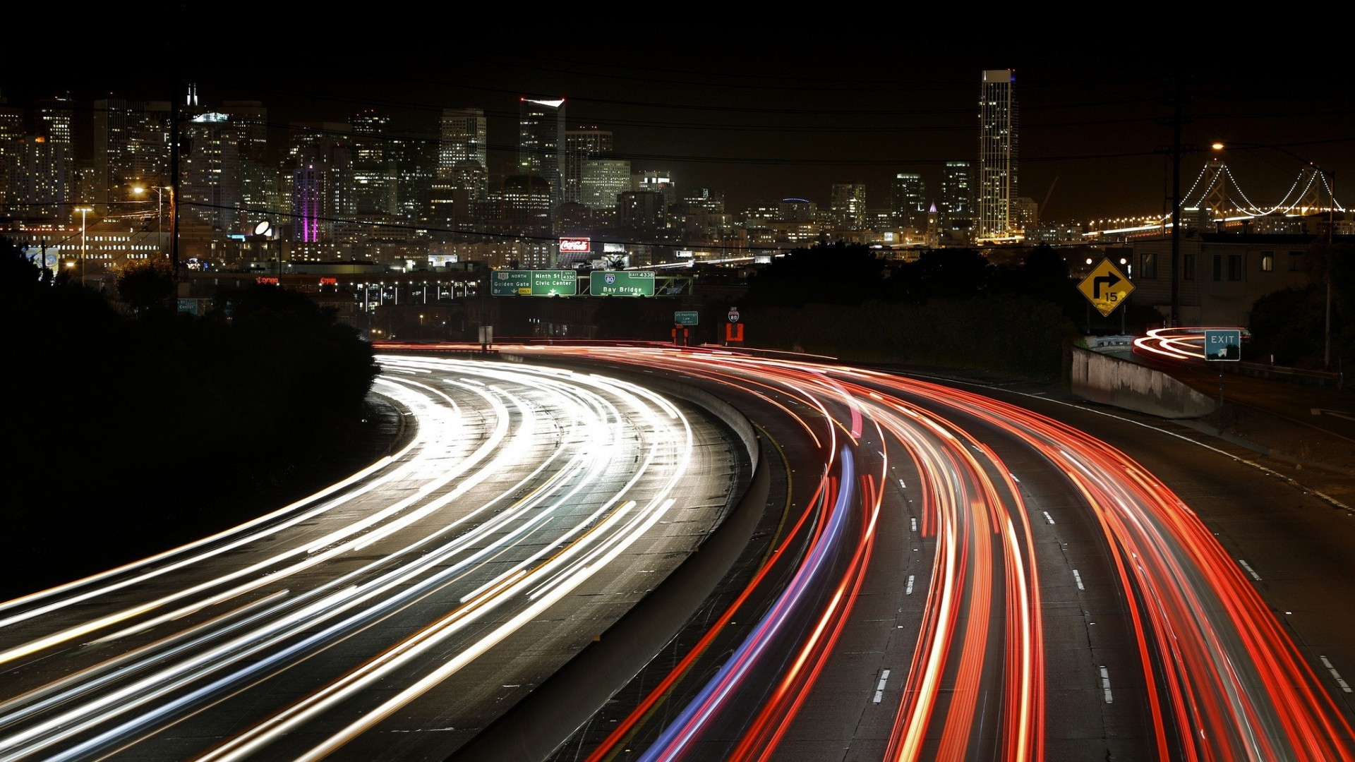 Other: Highway Lights San Francisco Long Exposure California Traffic ...
