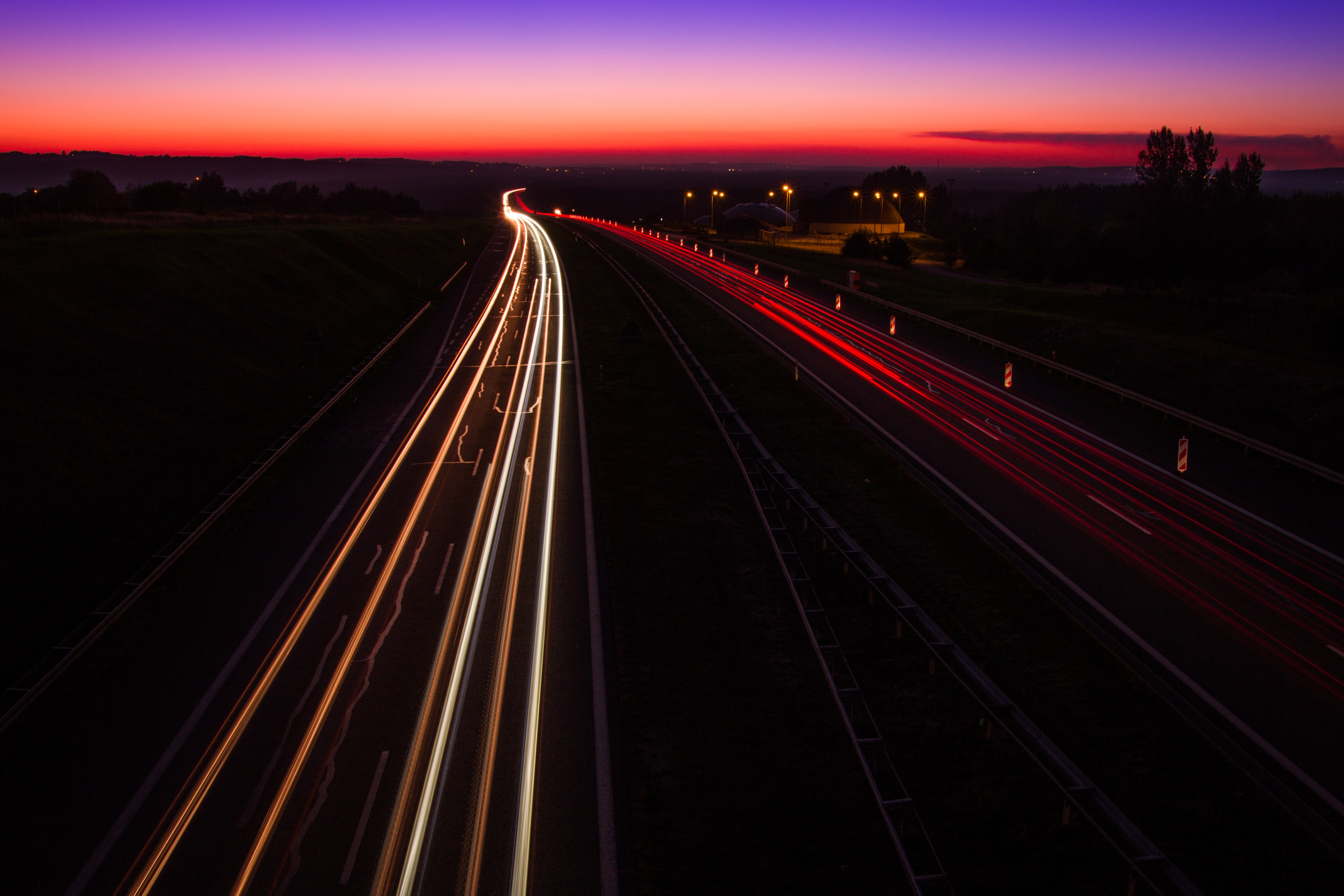 Highway Sunset, light trails, Poland, A4, Landscapes, Traffic, Sunset, HQ Photo