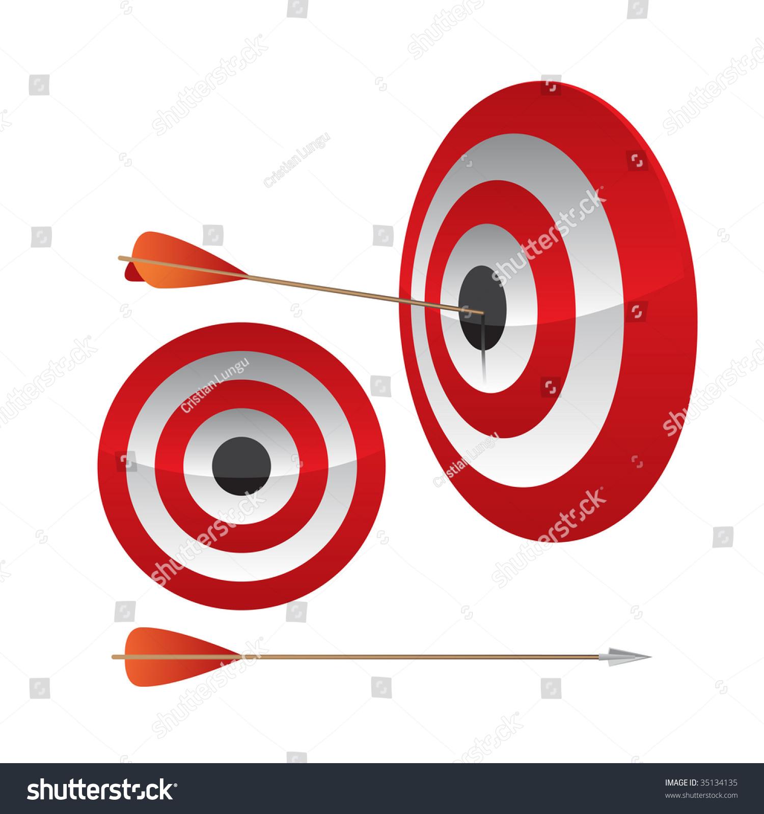 Dart Hitting Bullseye Red Target Isolated Stock Illustration ...