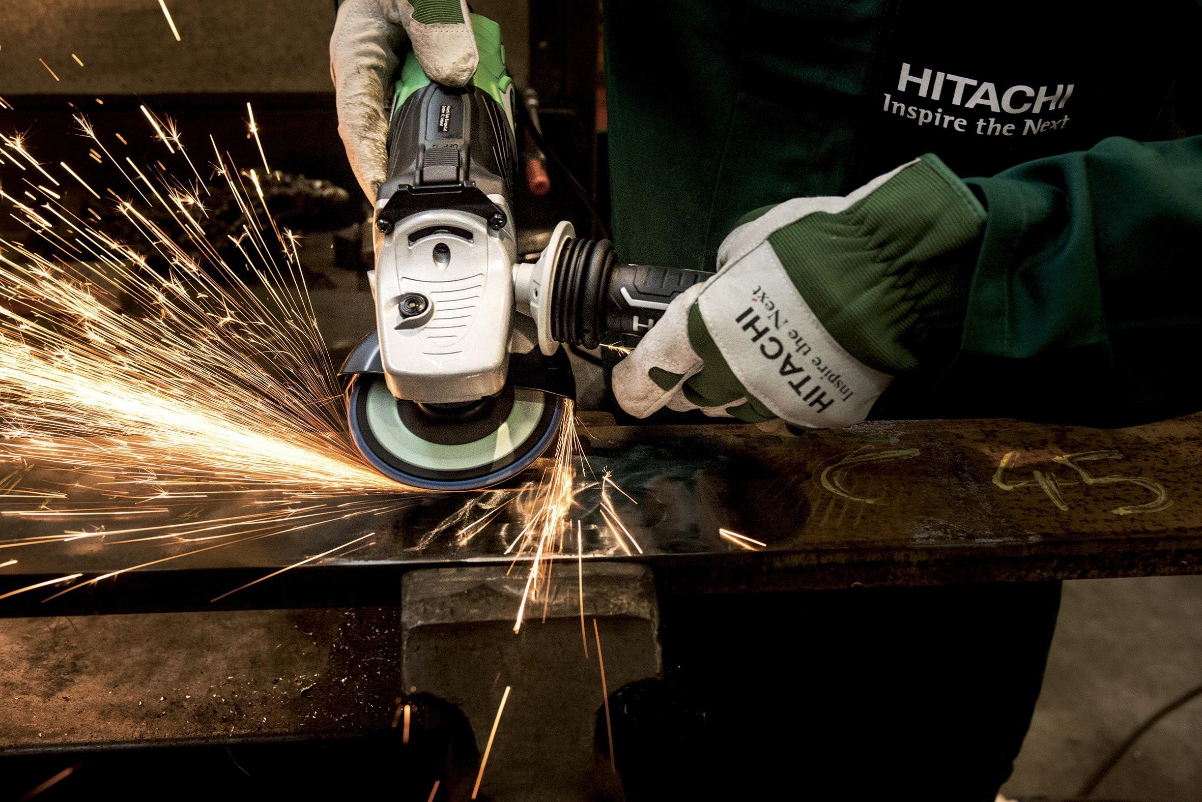 Hitachi white black angle grinder photo