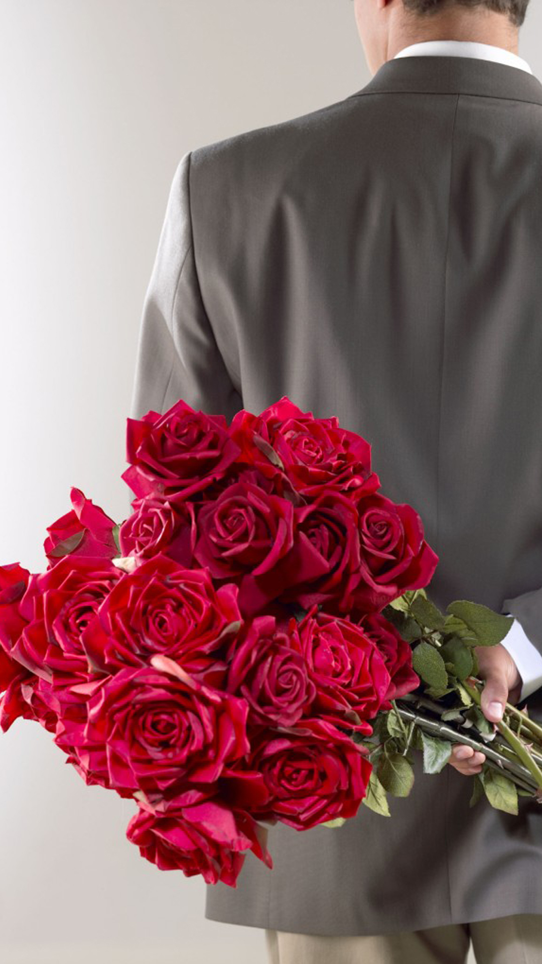 Man Holding Red Roses Bouquet Valentines Day Android Wallpaper free ...