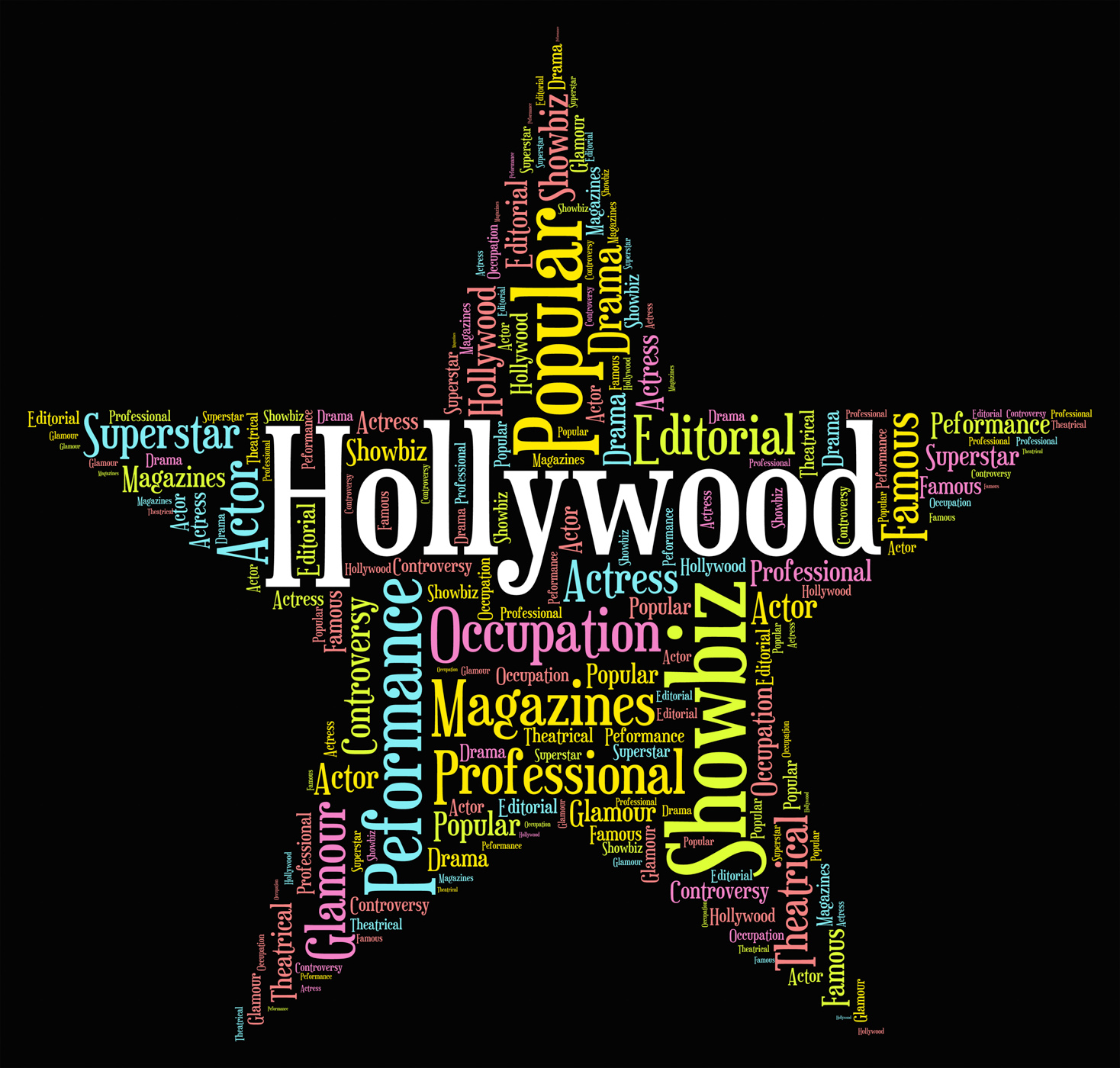 Hollywood star indicates silver screen and entertainment photo