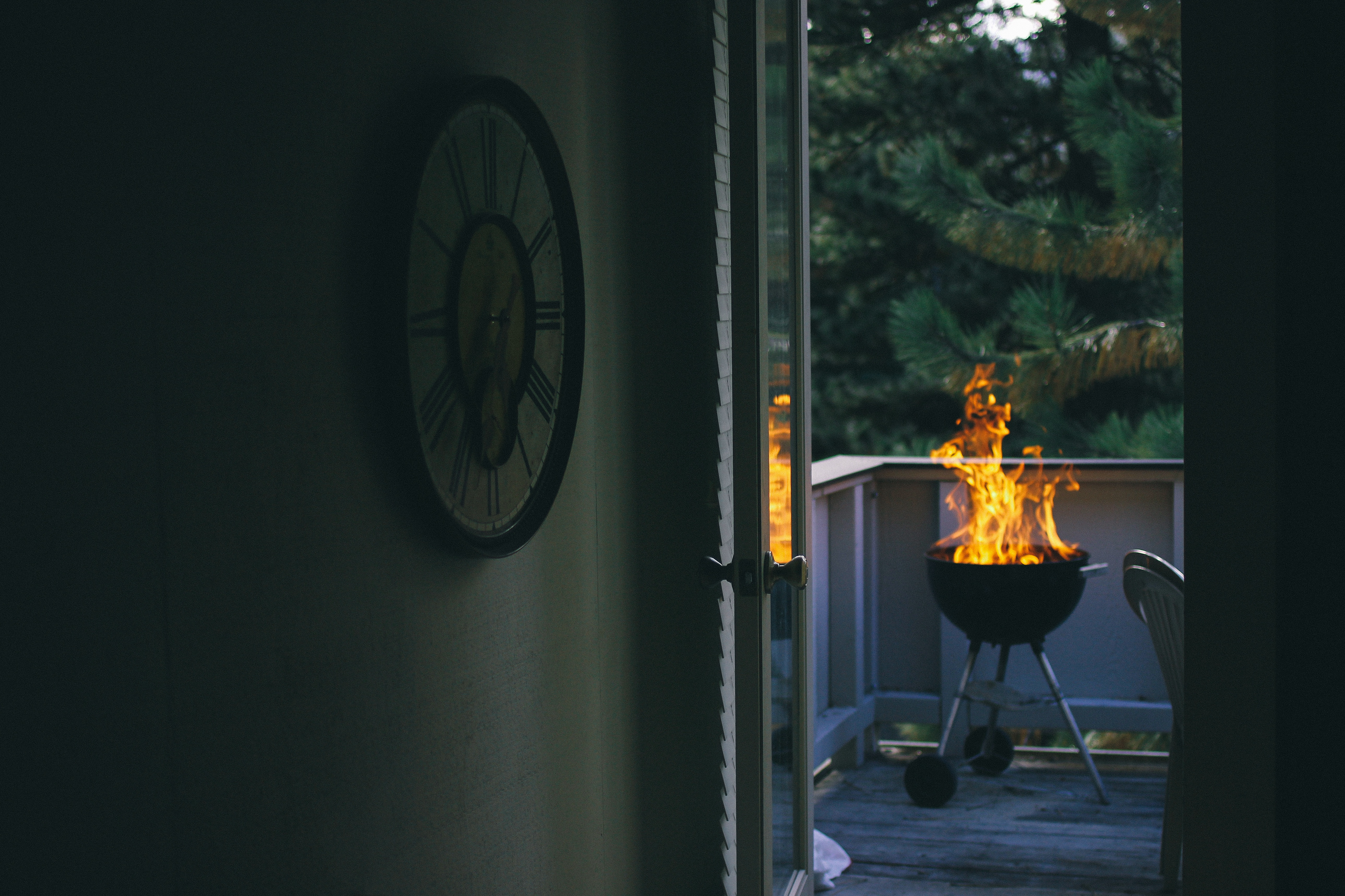 Home, Balcony, Cold, Fire, Fireplace, HQ Photo