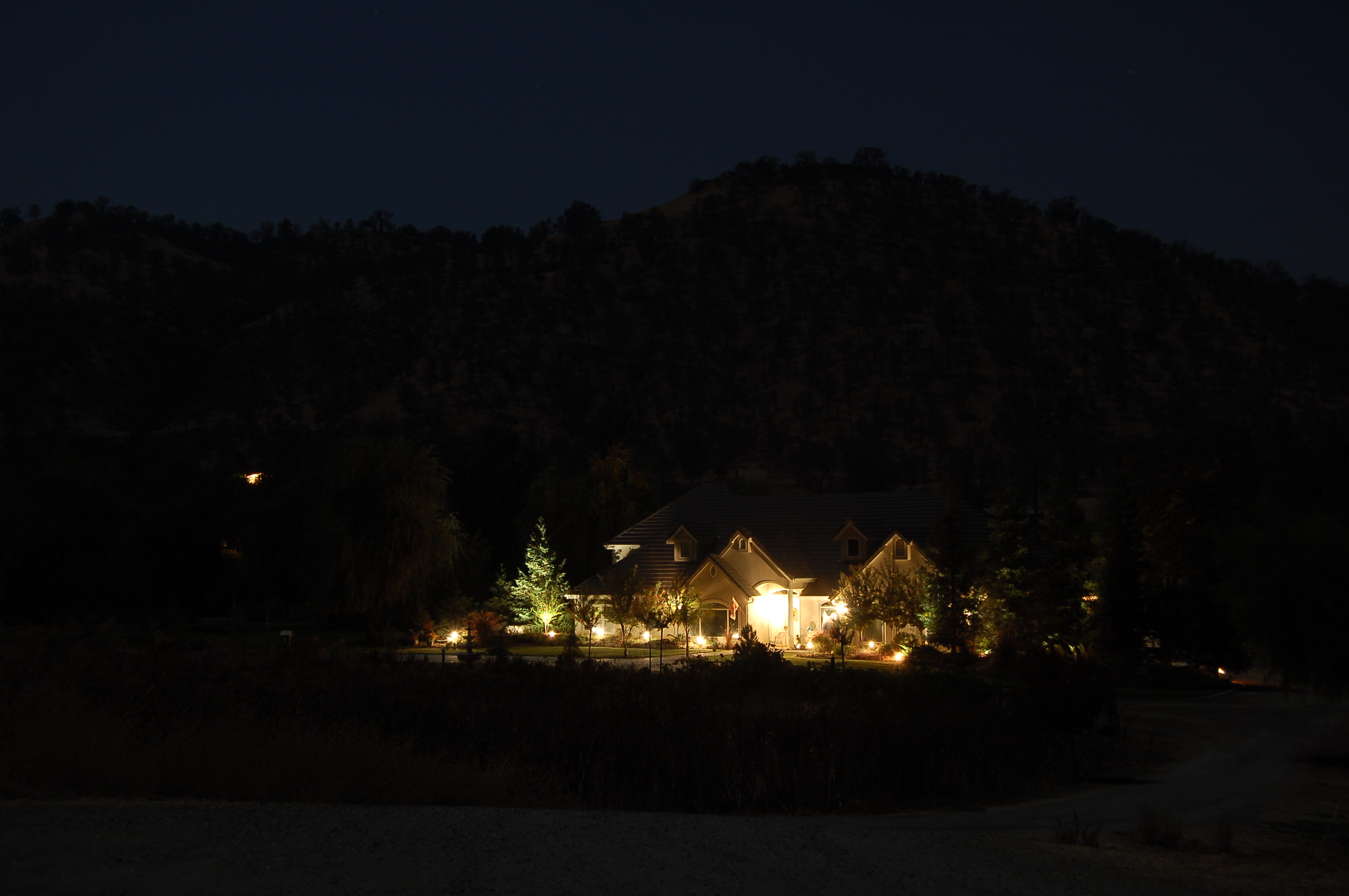 Home Sweet Home, Lights, Mountains, Night, Landscape, HQ Photo